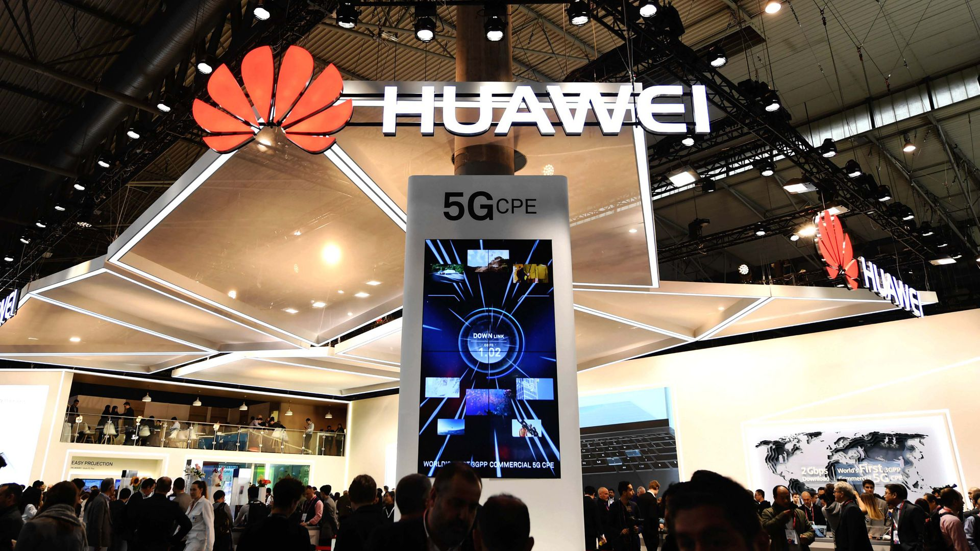 Huawei's 5G-focused booth at the 2018 Mobile World Congress in Barcelona, Spain. Photo: Xinhua/Guo Qiuda via Getty Images.