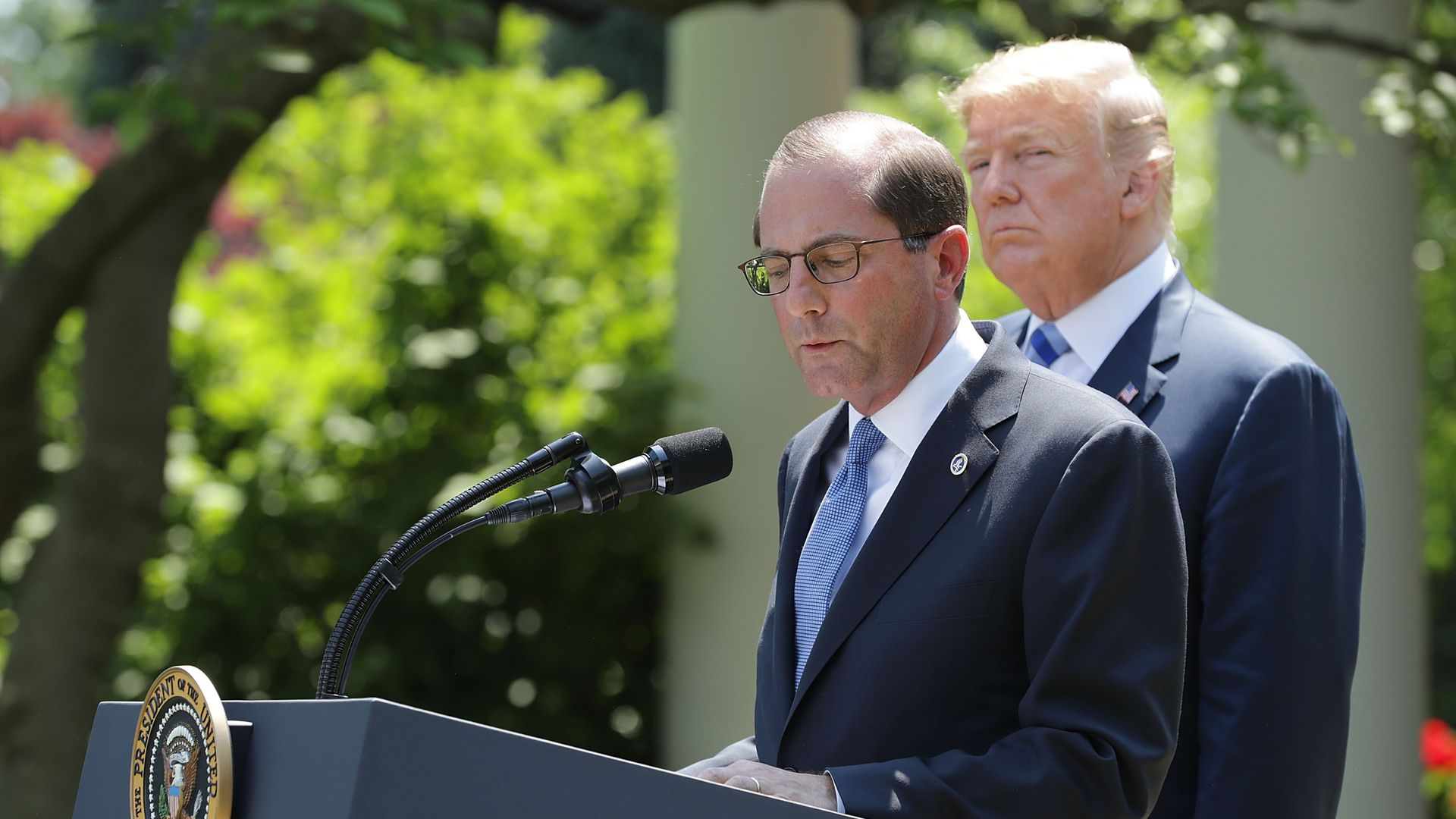 HHS Secretary Alex Azar and President Trump