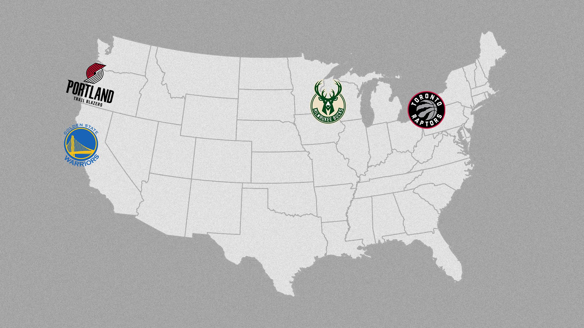 llustration of final four teams on a map