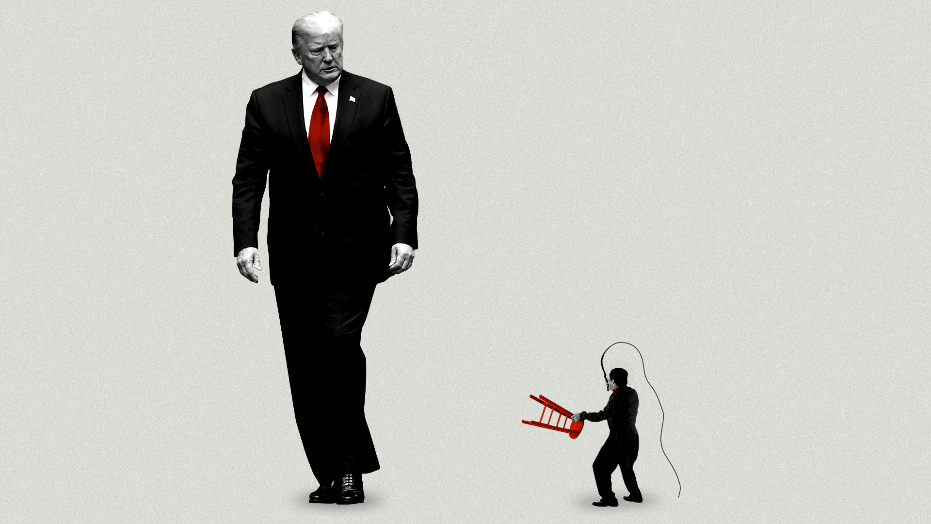 Illustration of President Trump looking down at a lion tamer in a business suit holding a stool and a whip.