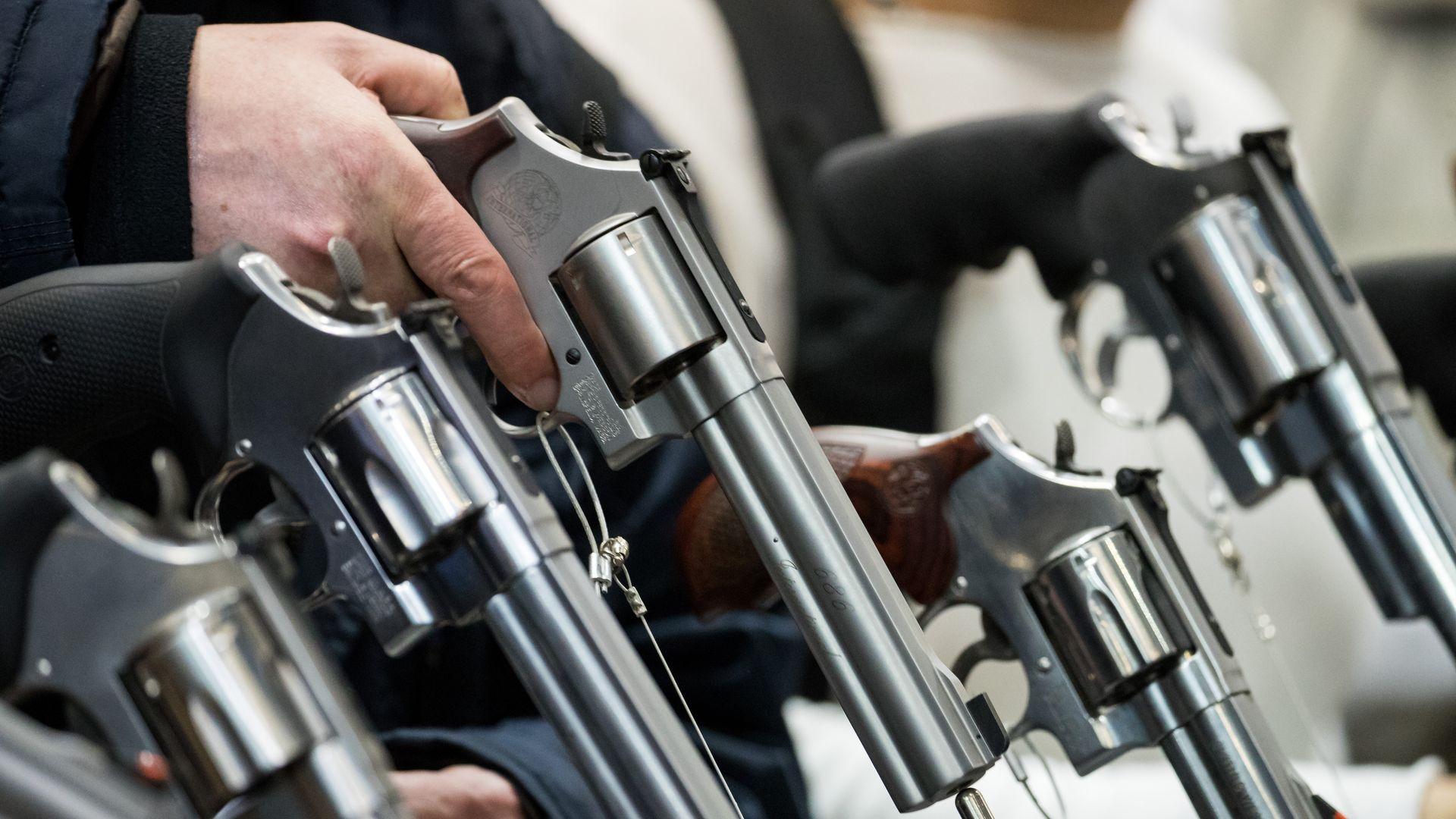 Guns at a trade show