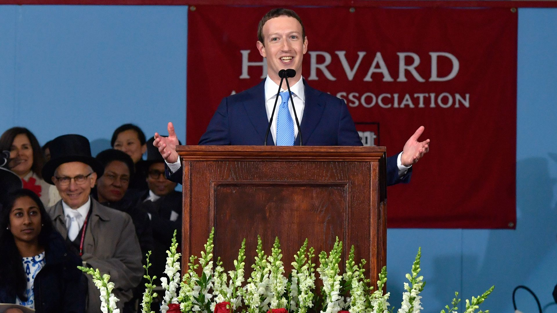 Mark Zuckerberg gives a speech at Harvard