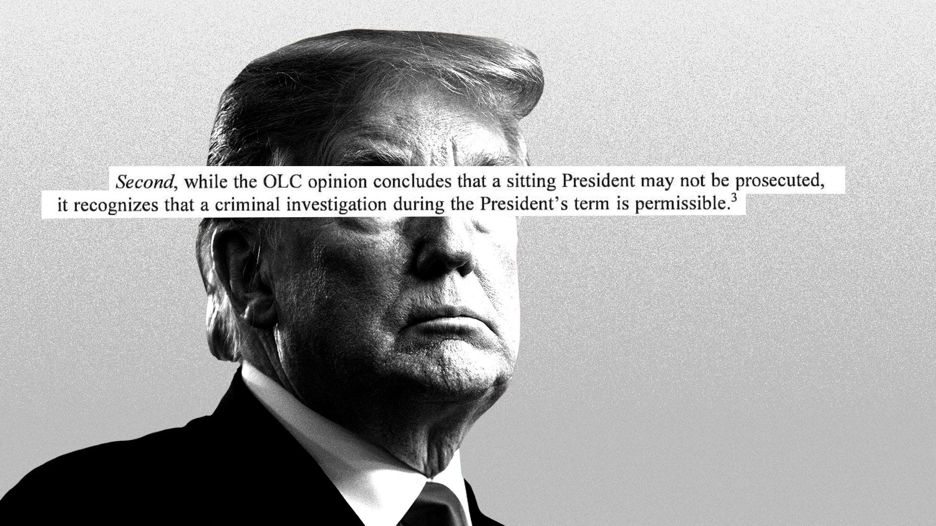 Illustration of President Trump with words from the Mueller report printed over his face