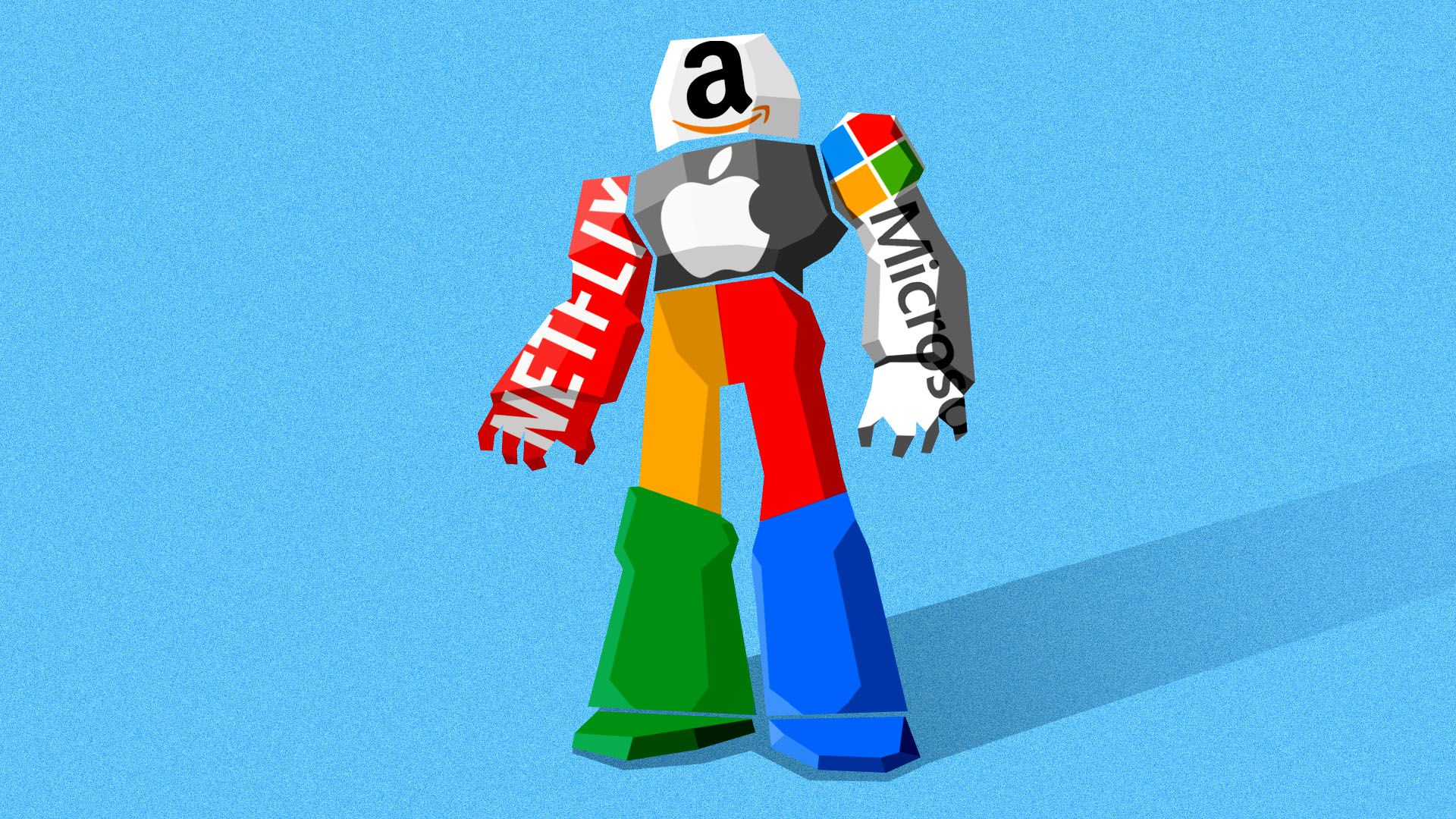 Illustration of a giant robot made up of the logos of big tech companies