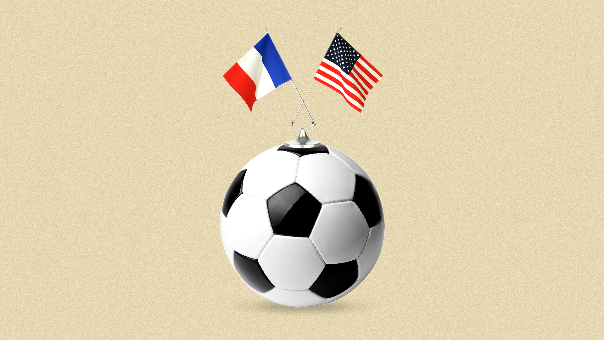 Illustration of a soccer ball with the American and French flags on top