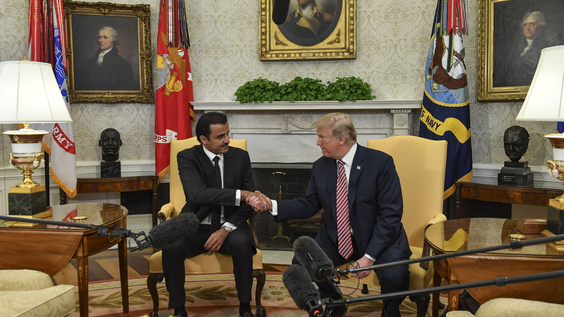 President Trump welcomed the Emir of Qatar to the White House on Tuesday.