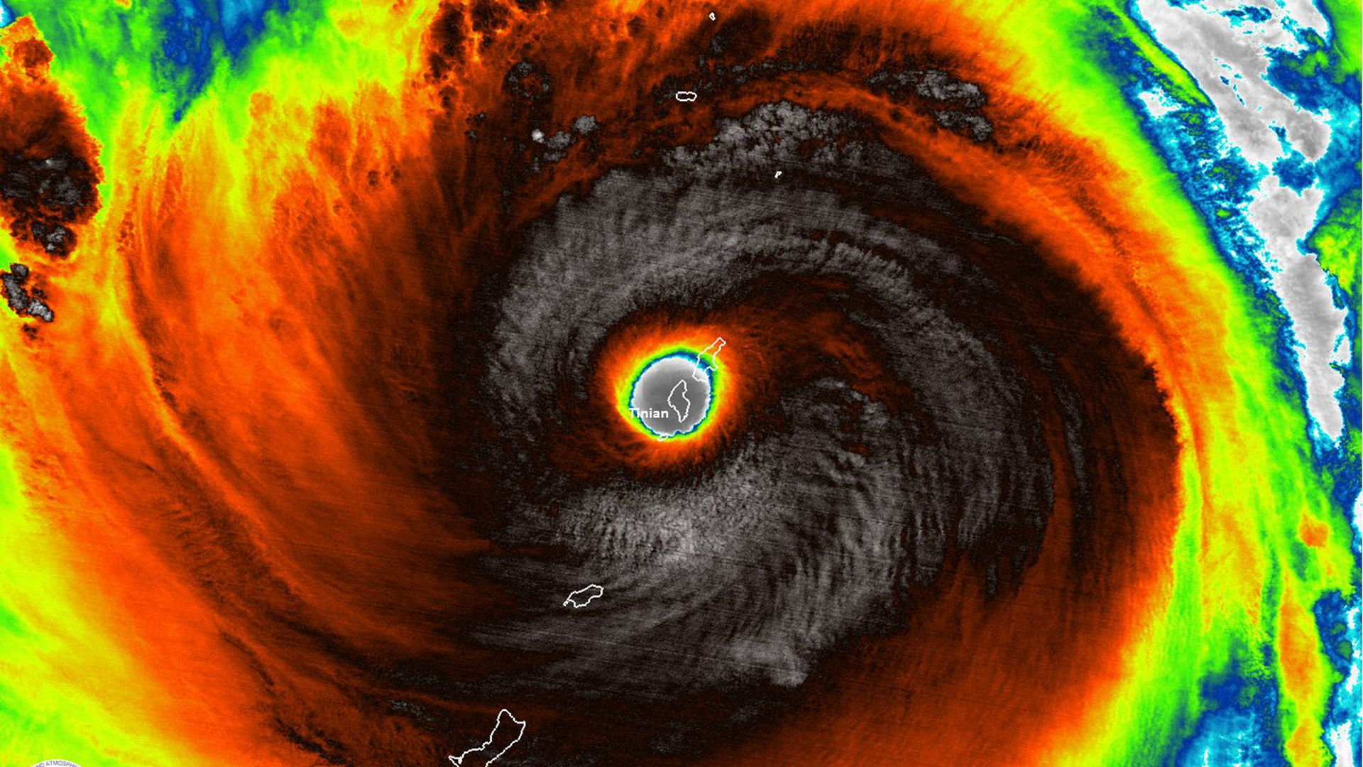 Super Typhoon Yutu swallows the island of Tinian on Oct. 24, 2018 as a strong Category 5 storm.