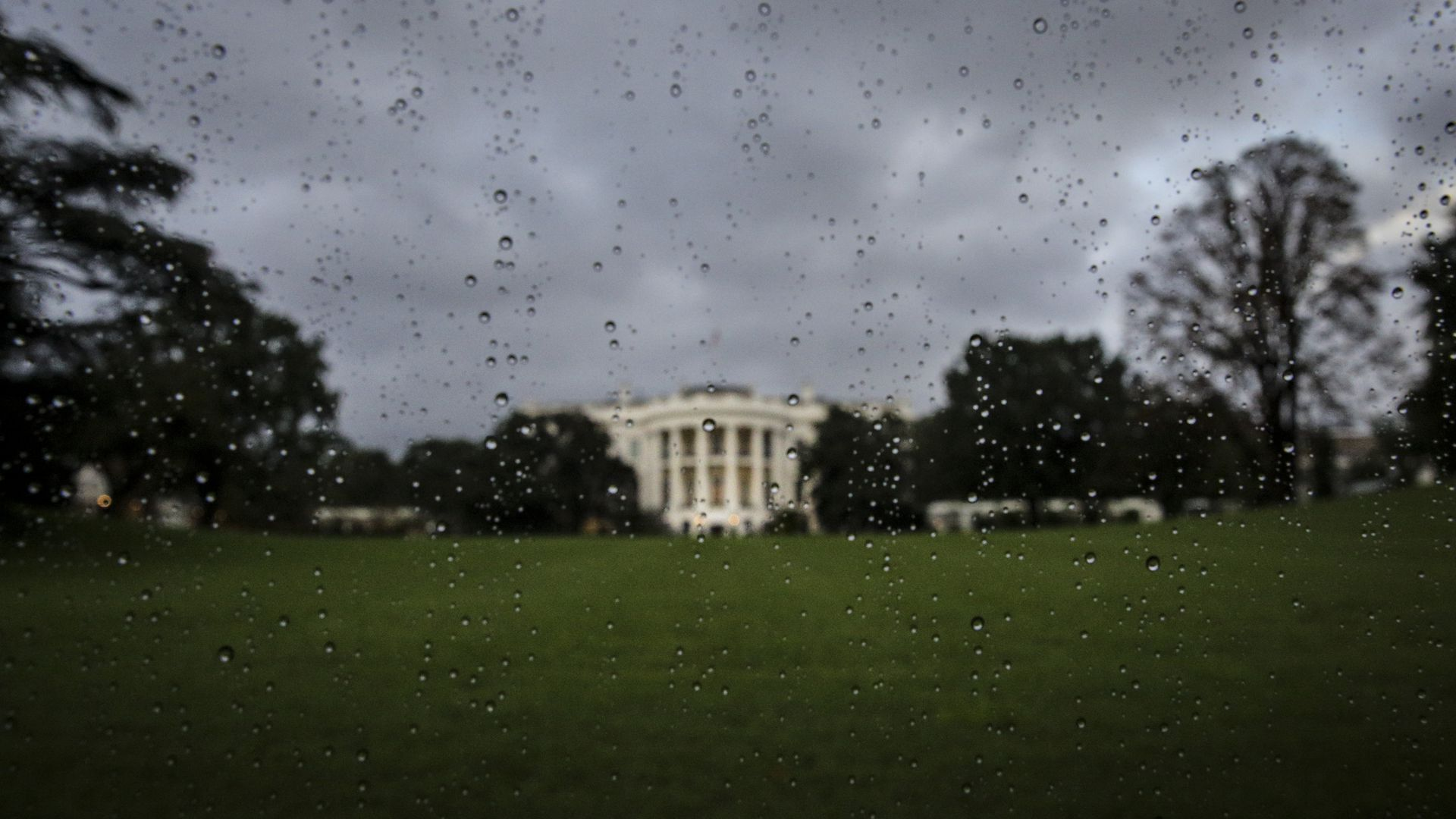 The South Lawn of the White House shown on a rainy day