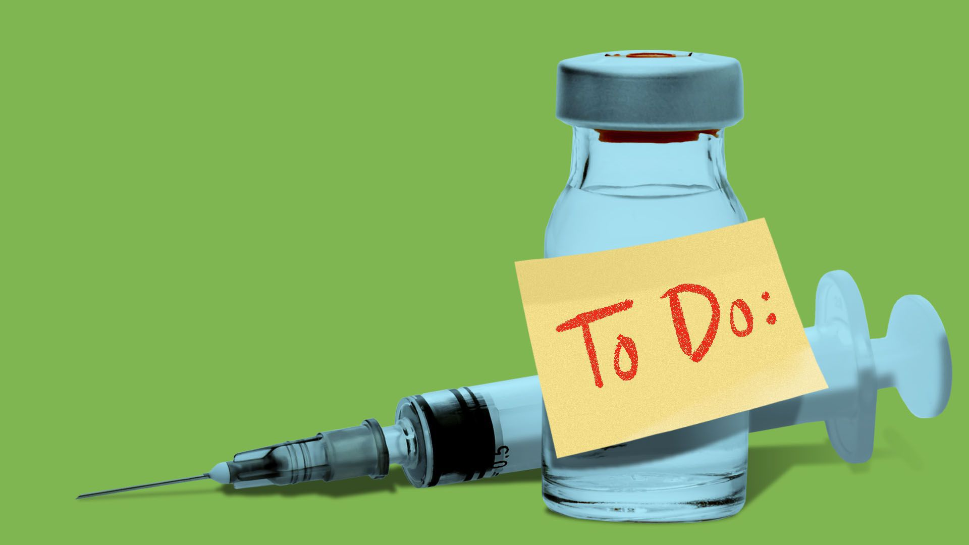 """Illustration of a syringe and glass medicine bottle with a post-it note attached that says """"to do"""""""