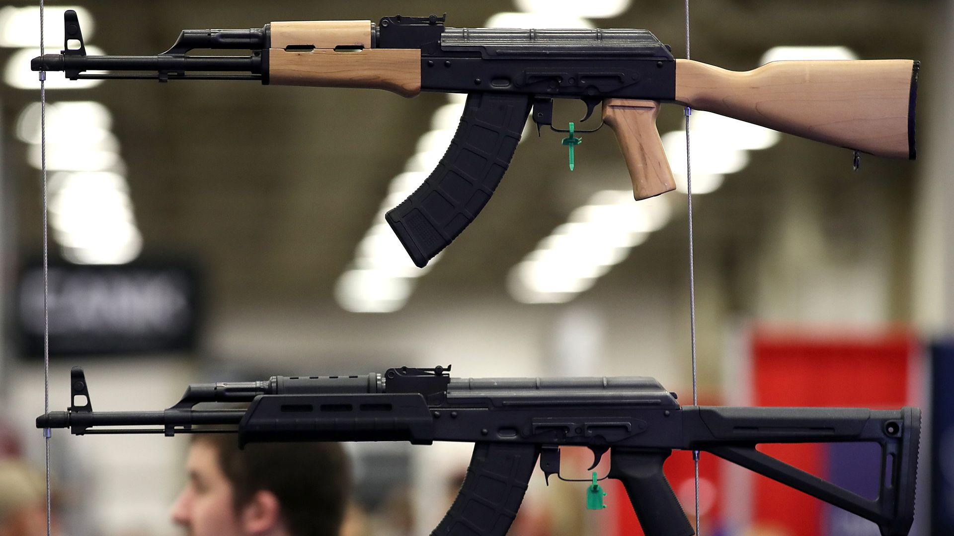 Firearms on display during the NRA Annual Meeting & Exhibits at the Kay Bailey Hutchison Convention Center  in Dallas, Texas. Photo: Justin Sullivan/Getty Images