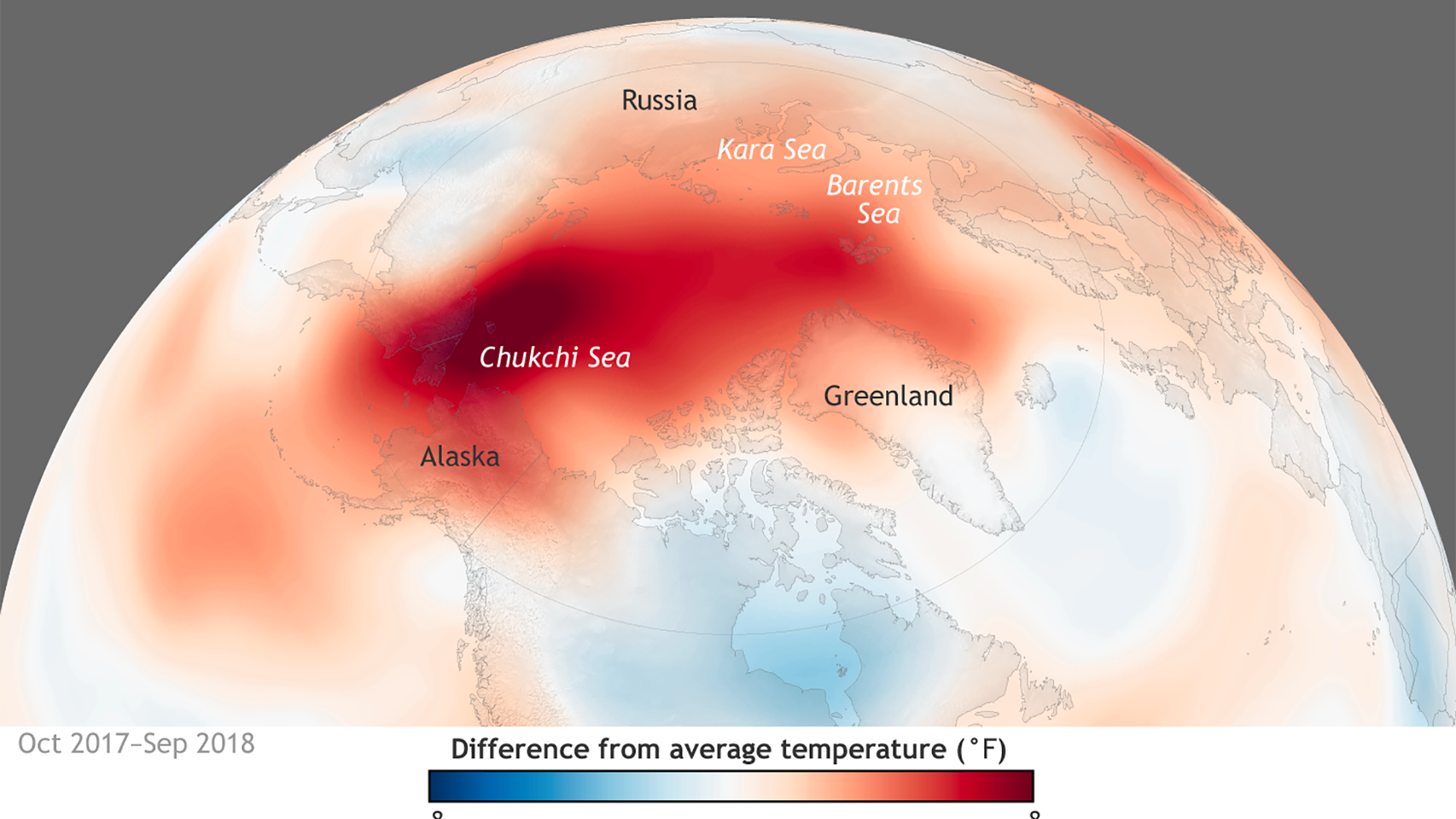 Heat map of Arctic surface temperature anomalies