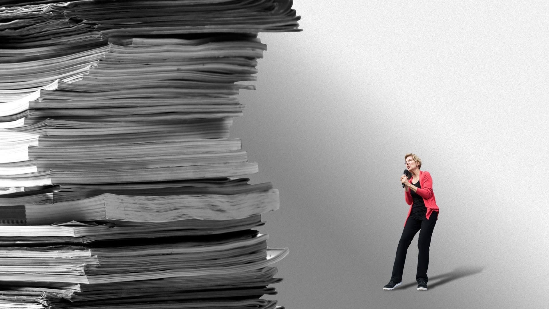Illustration of a stack of papers towering over 2020 candidate Elizabeth Warren