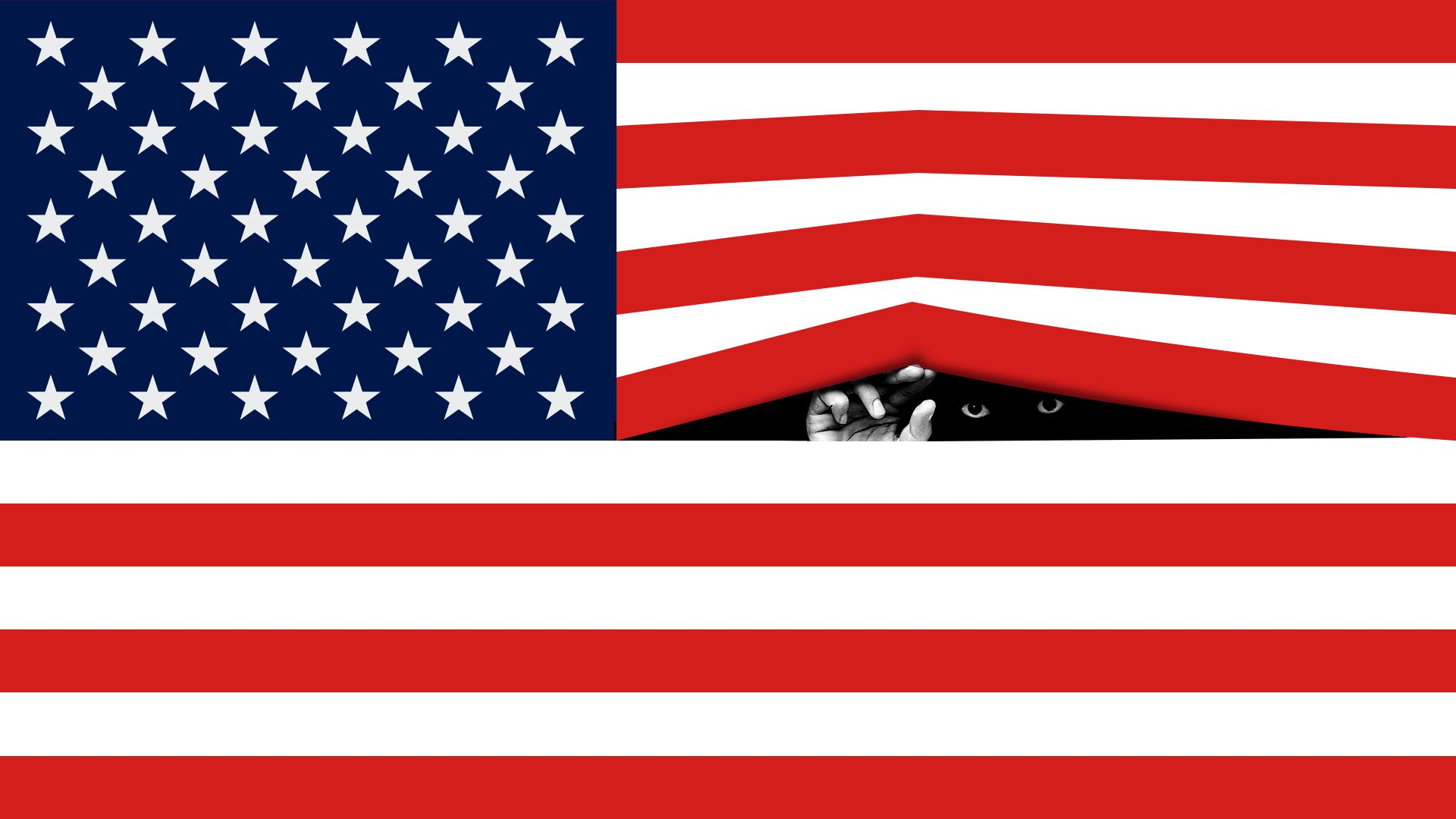 Illustration of the American flag with a hand reaching through as if the stripes were blinds, and a pair of eyes peeking through.