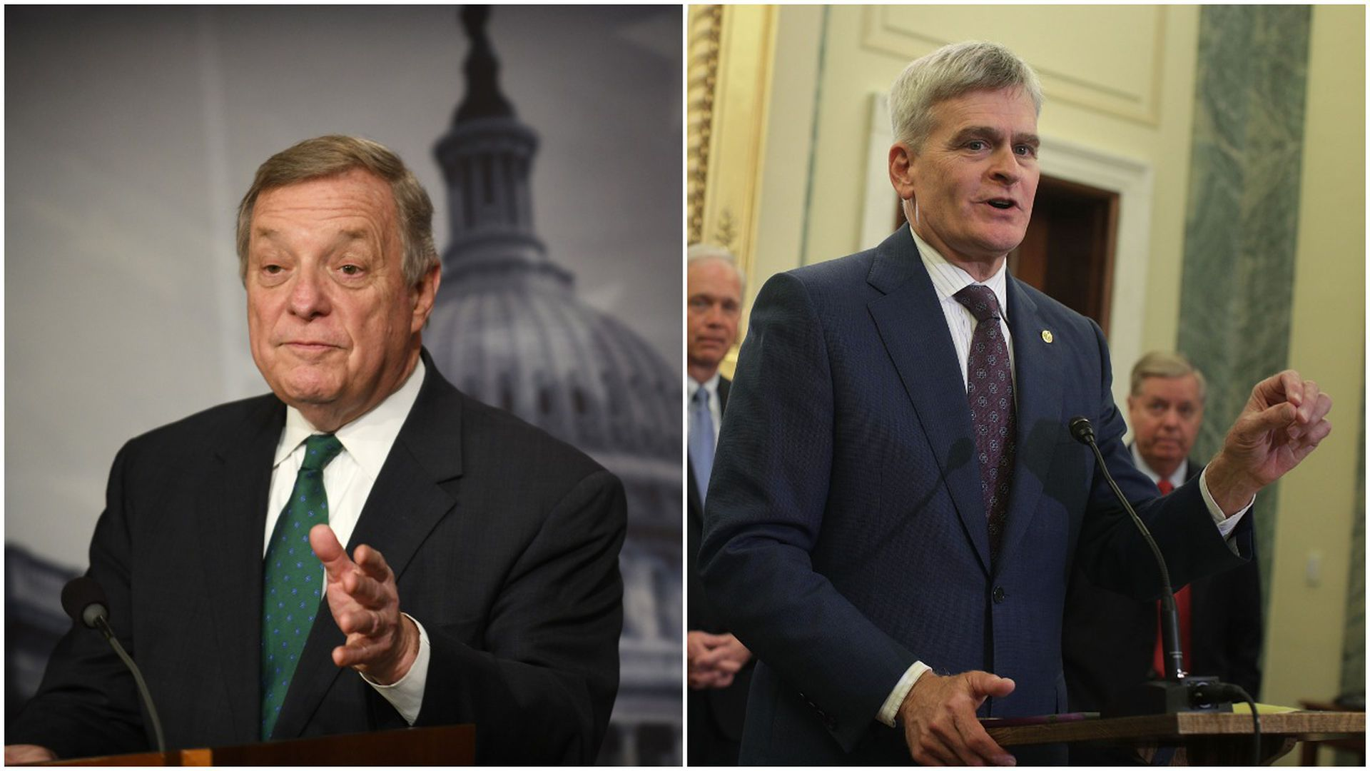 This image is a split scree between Sen. Cassidy and Sen. Durbin, who are both standing in suits and talking with one hand raised.