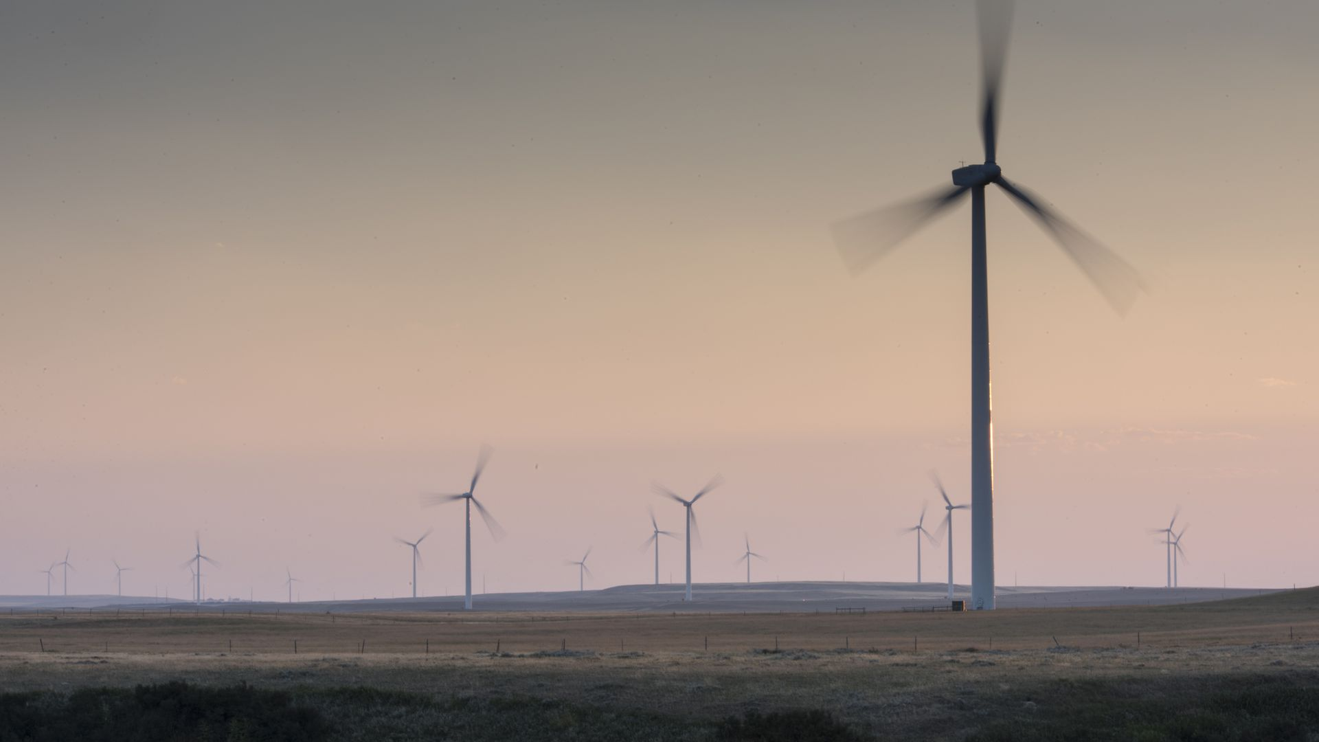 A field of wind turbines spinning in front of a sunset of light pinks and oranges