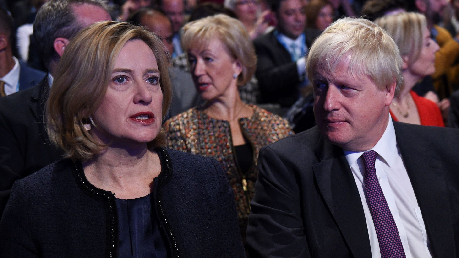 Amber Rudd and Boris Johnson at the Conservative Party annual conference at the Manchester Central Convention Centre in Manchester, northwest England, on October 4, 2017