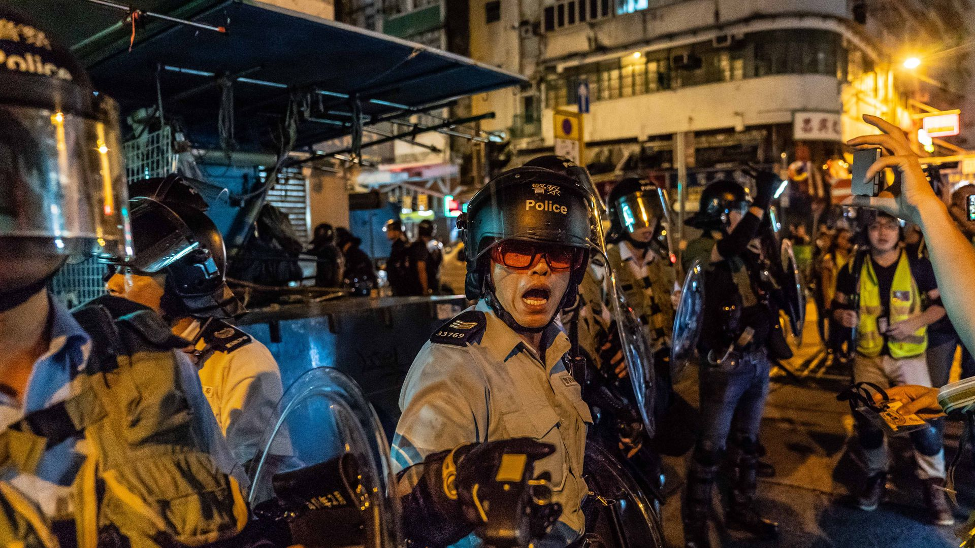 Hong Kong police during a protest against the extradition bill