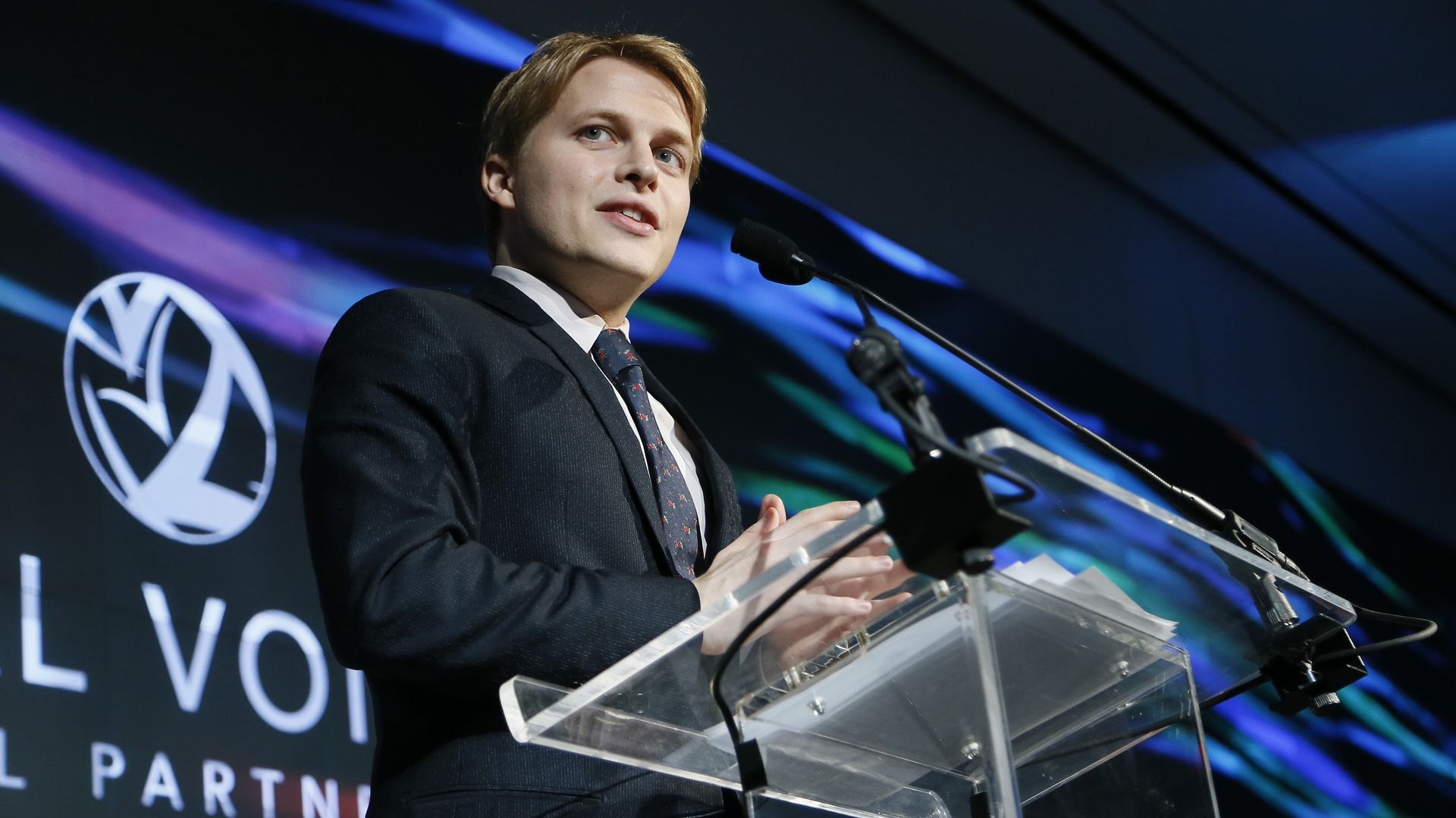 Ronan Farrow speaks on stage during Vital Voices Global Partnership: 2017 Voices Against Solidarity Awards.
