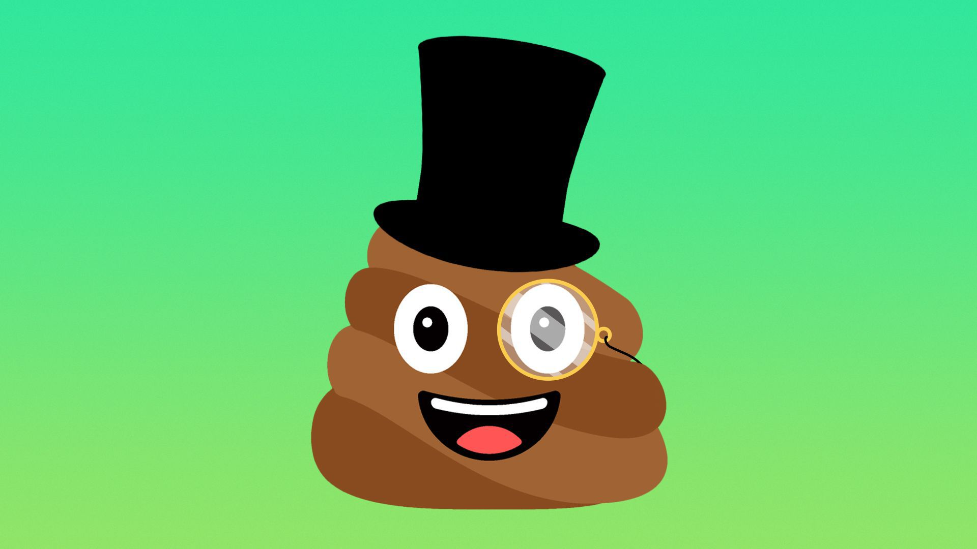 Illustration of the poop emoji wearing a top hat and monocle.