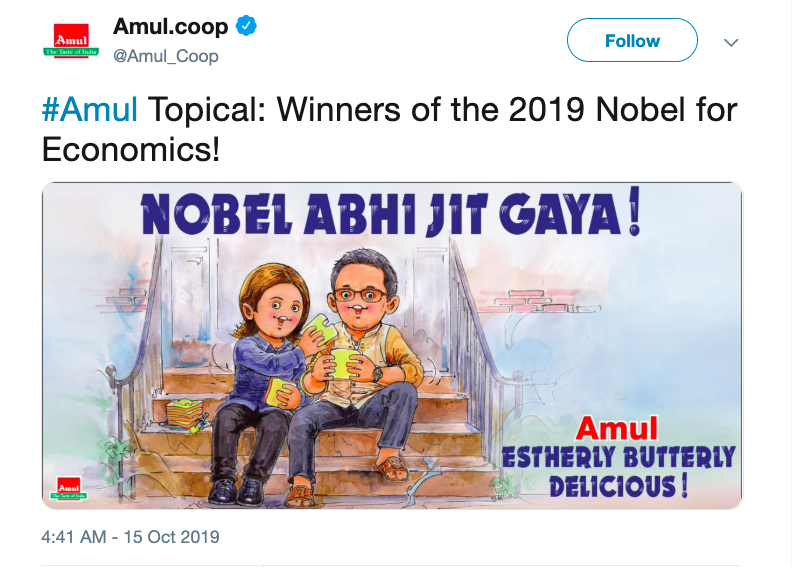 Screenshot of Amul twitter feed with a drawing of winners of 2019 Nobel Economics