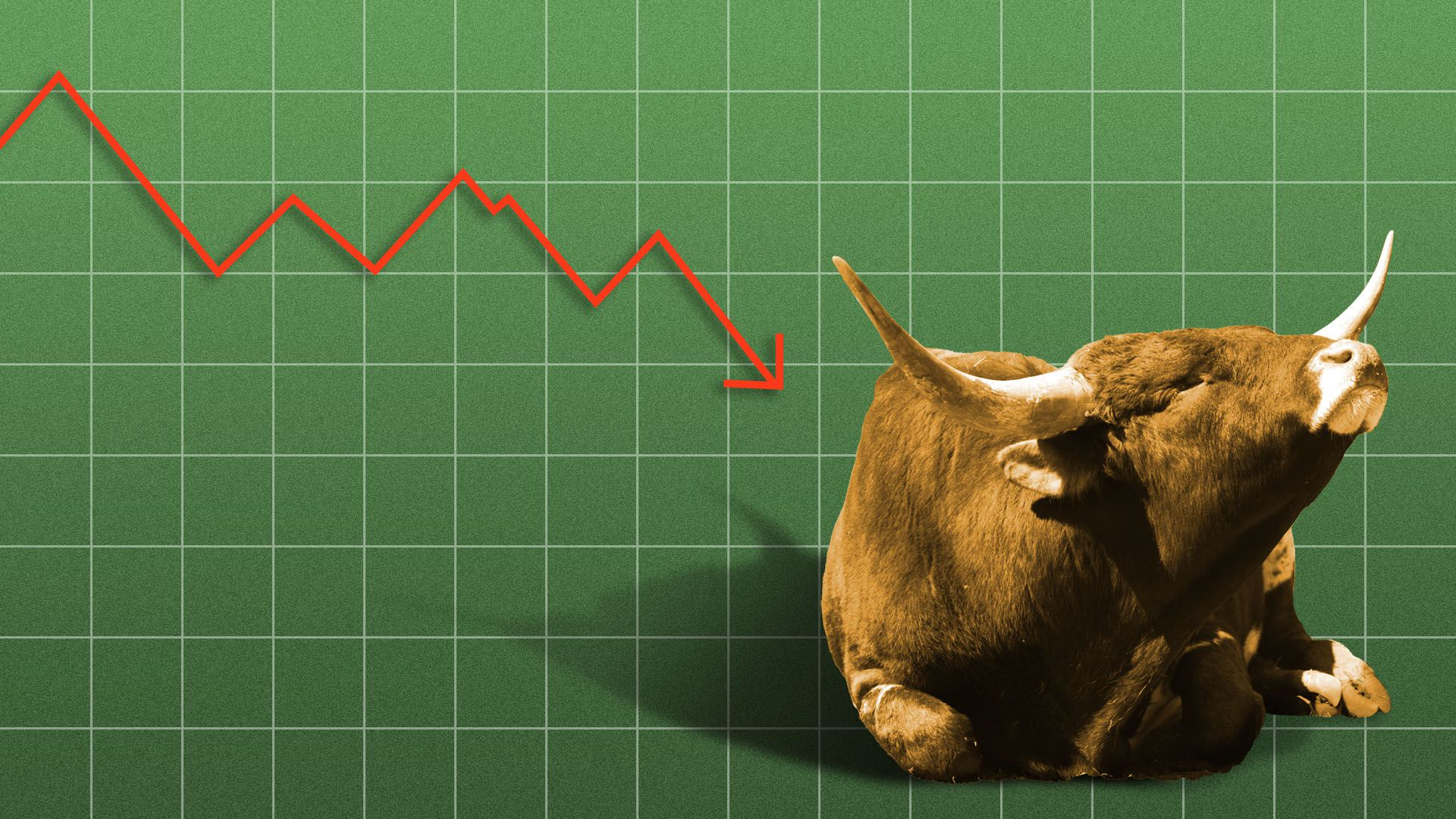 Illustration of a bull ignoring a downward trend line on a chart