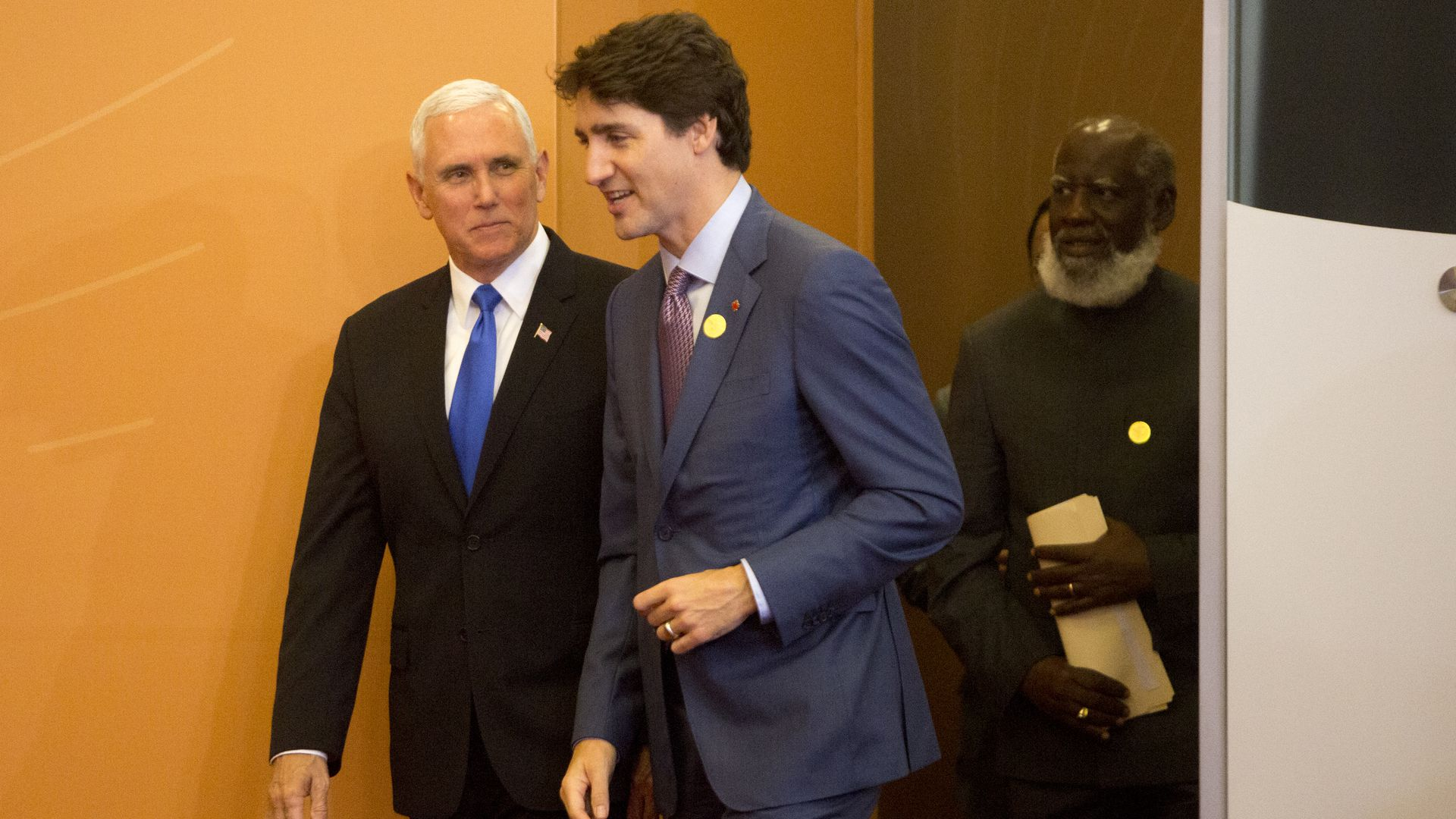 US Vice President Mike Pence and talks with President of Canada Justin Trudeau in 2018.