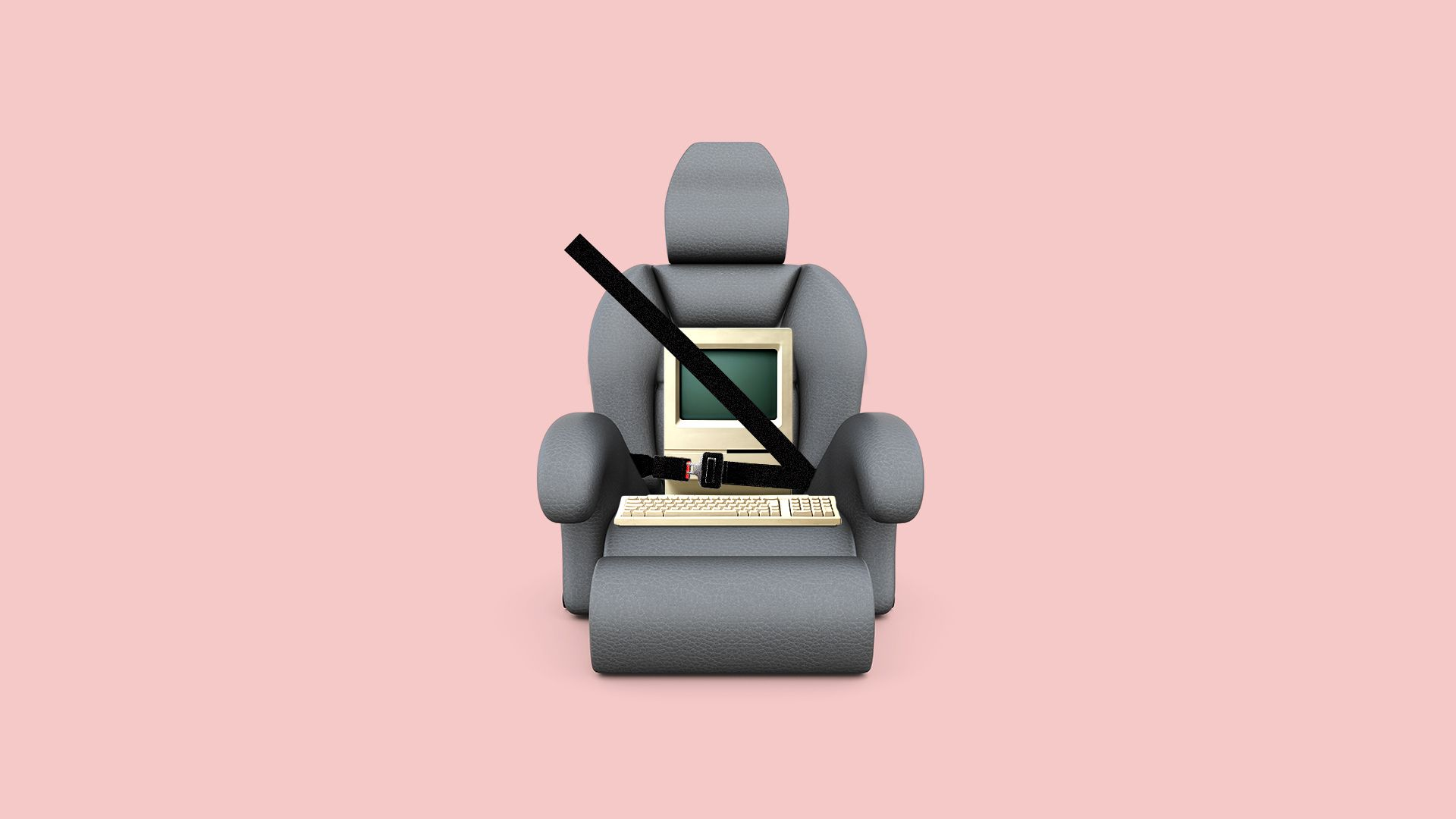Illustration of a computer wearing a seat belt.
