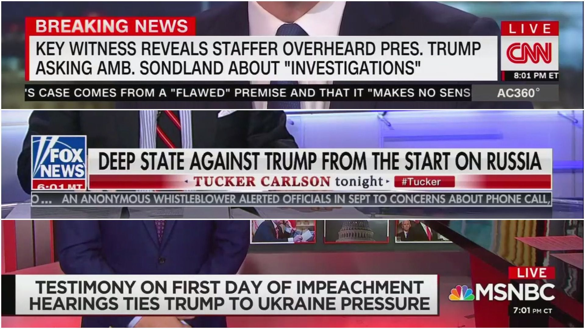 Photo collage with three chyrons from CNN, Fox and MSNBC on the impeachment hearings