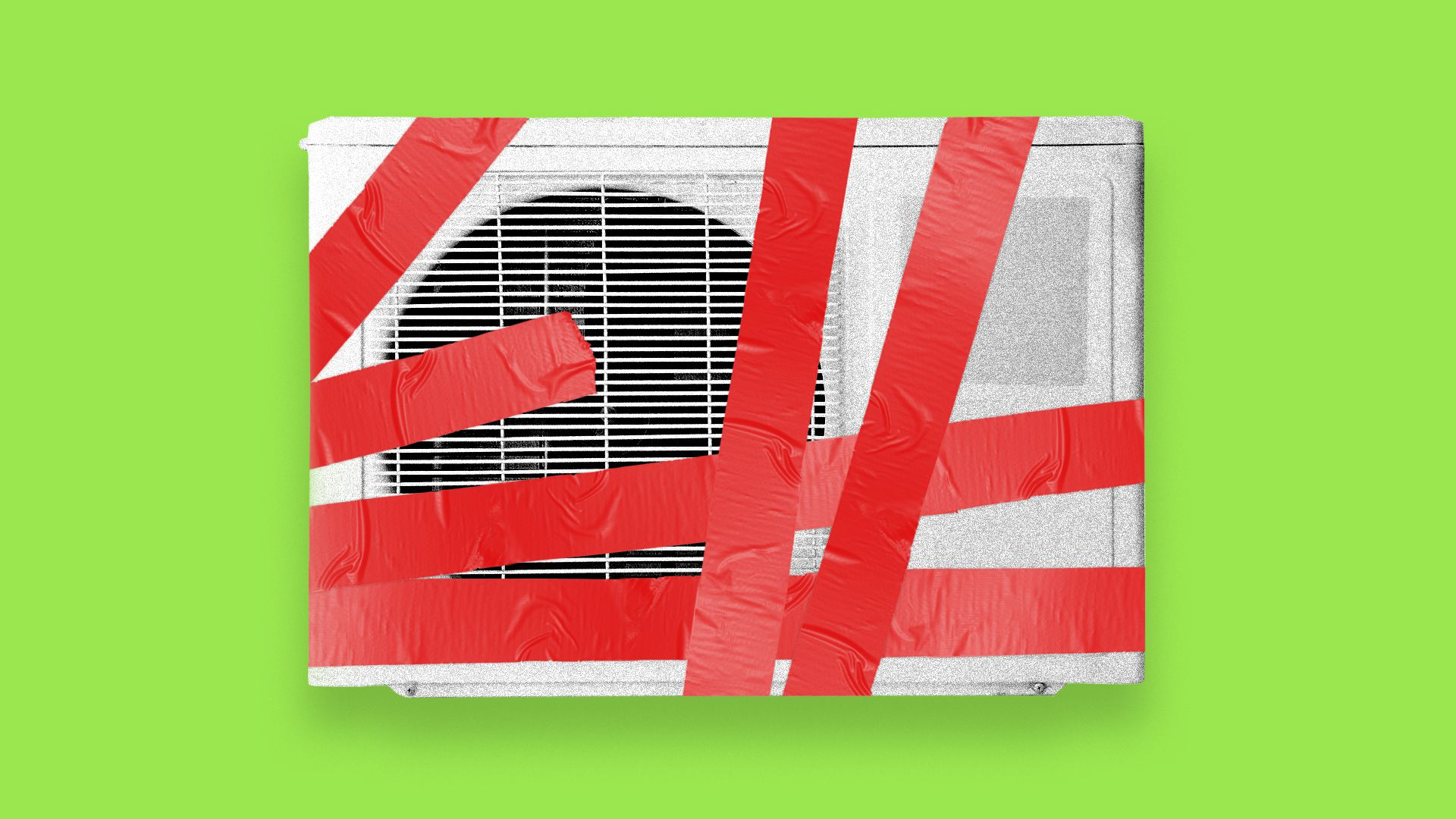 Air conditioner wrapped in red tape