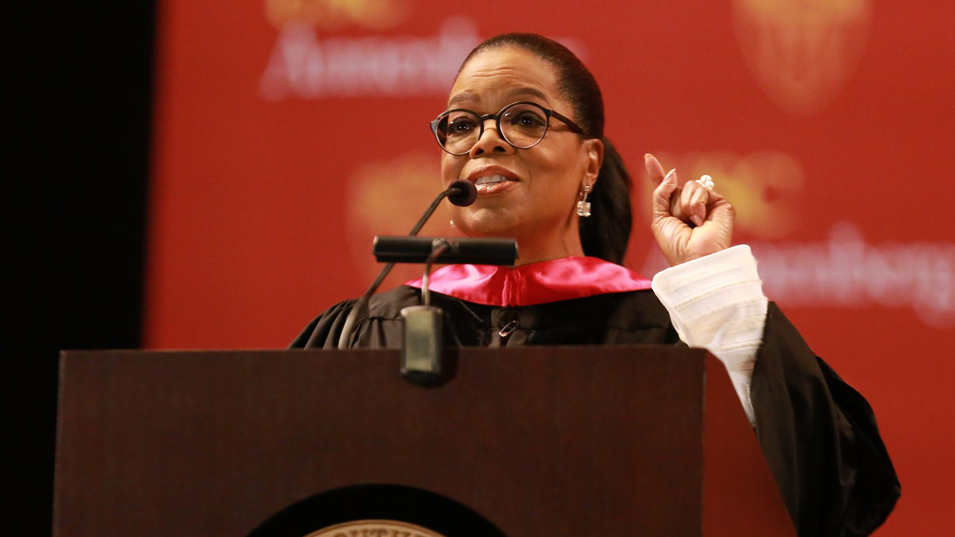 Oprah behind the podium at USC