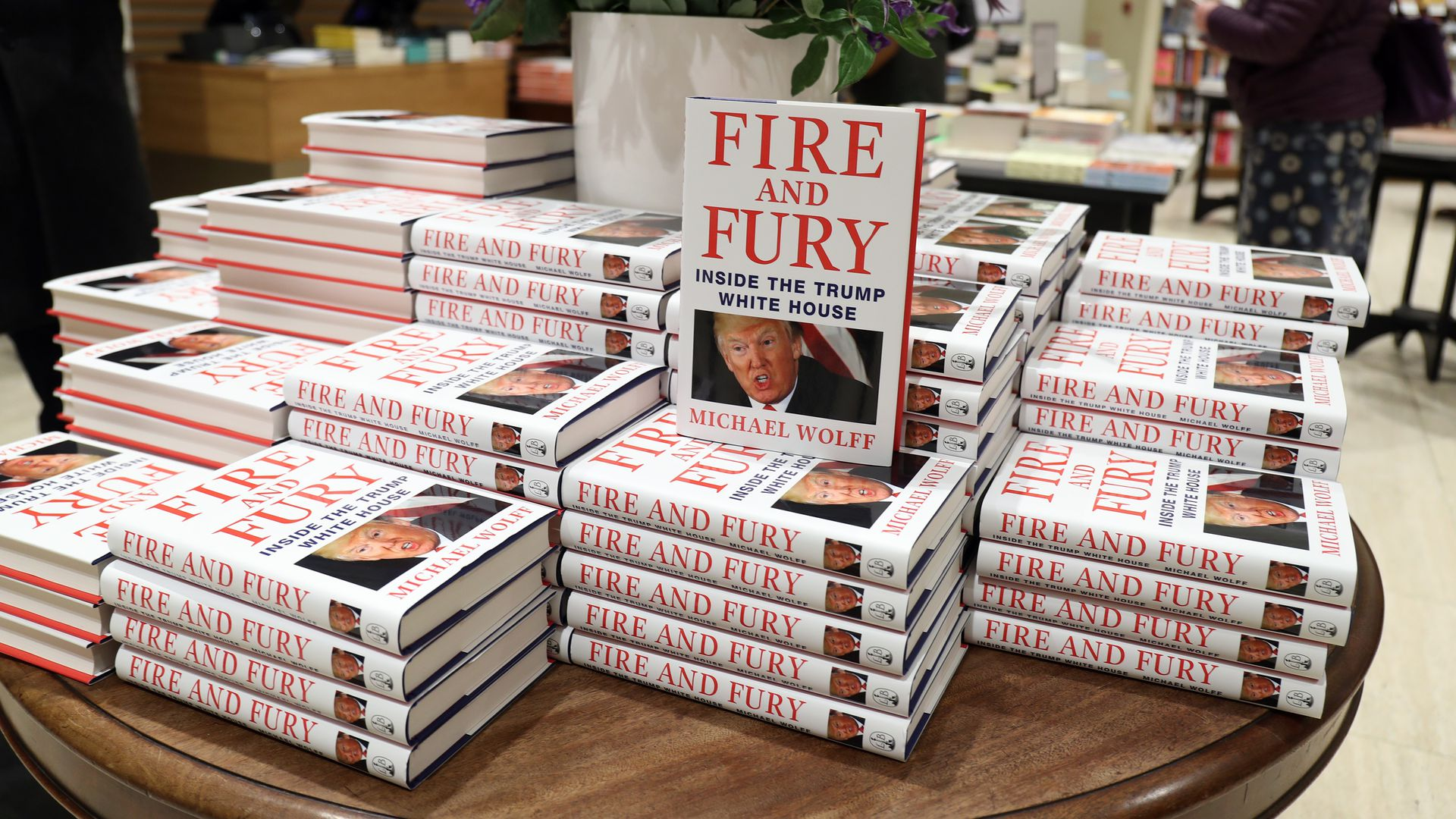 An in-store display at Waterstone's Piccadilly shows copies of one of the UK's first consignments of 'Fire and Fury'