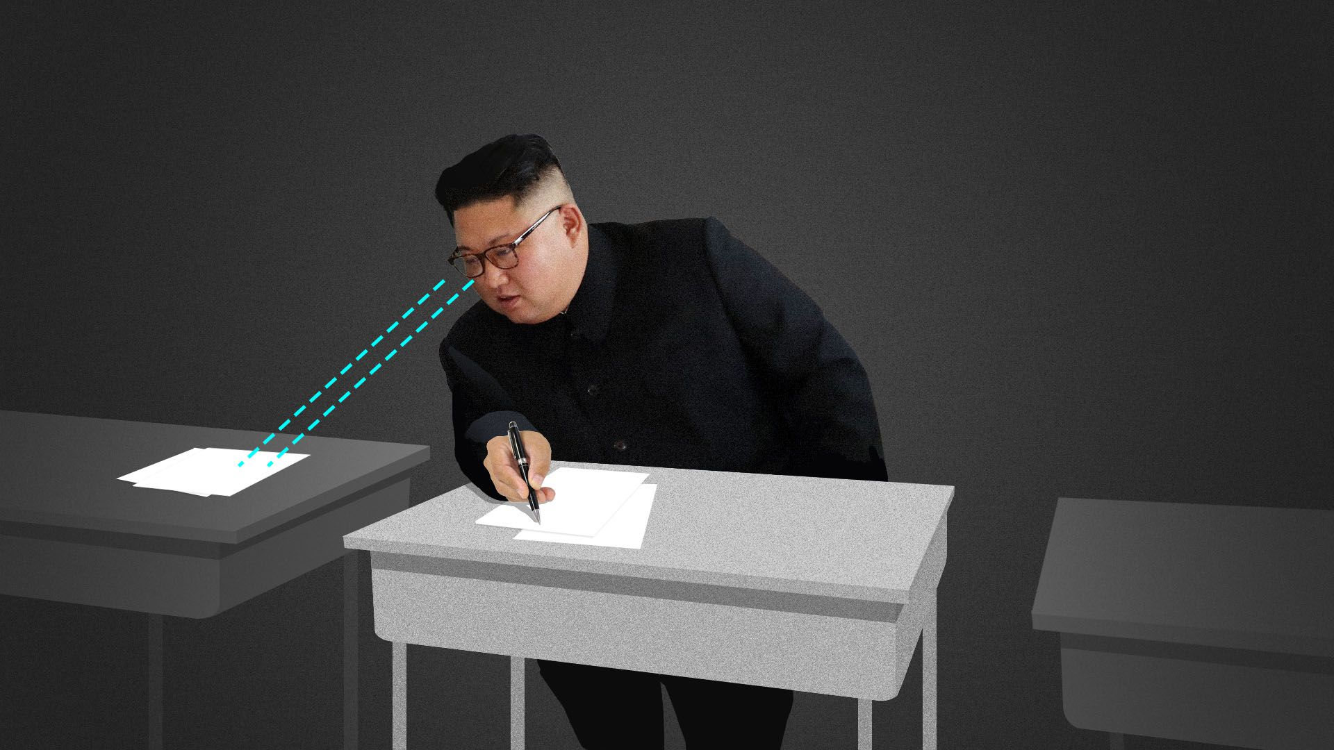 Illustration of North Korean leader Kim Jong-un copying a document