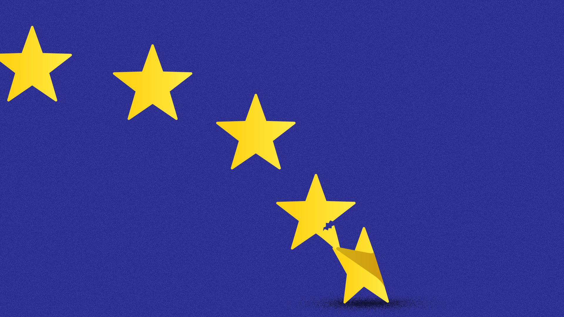 Illustration of the EU flag stars with one star pulling the leg off of another star.