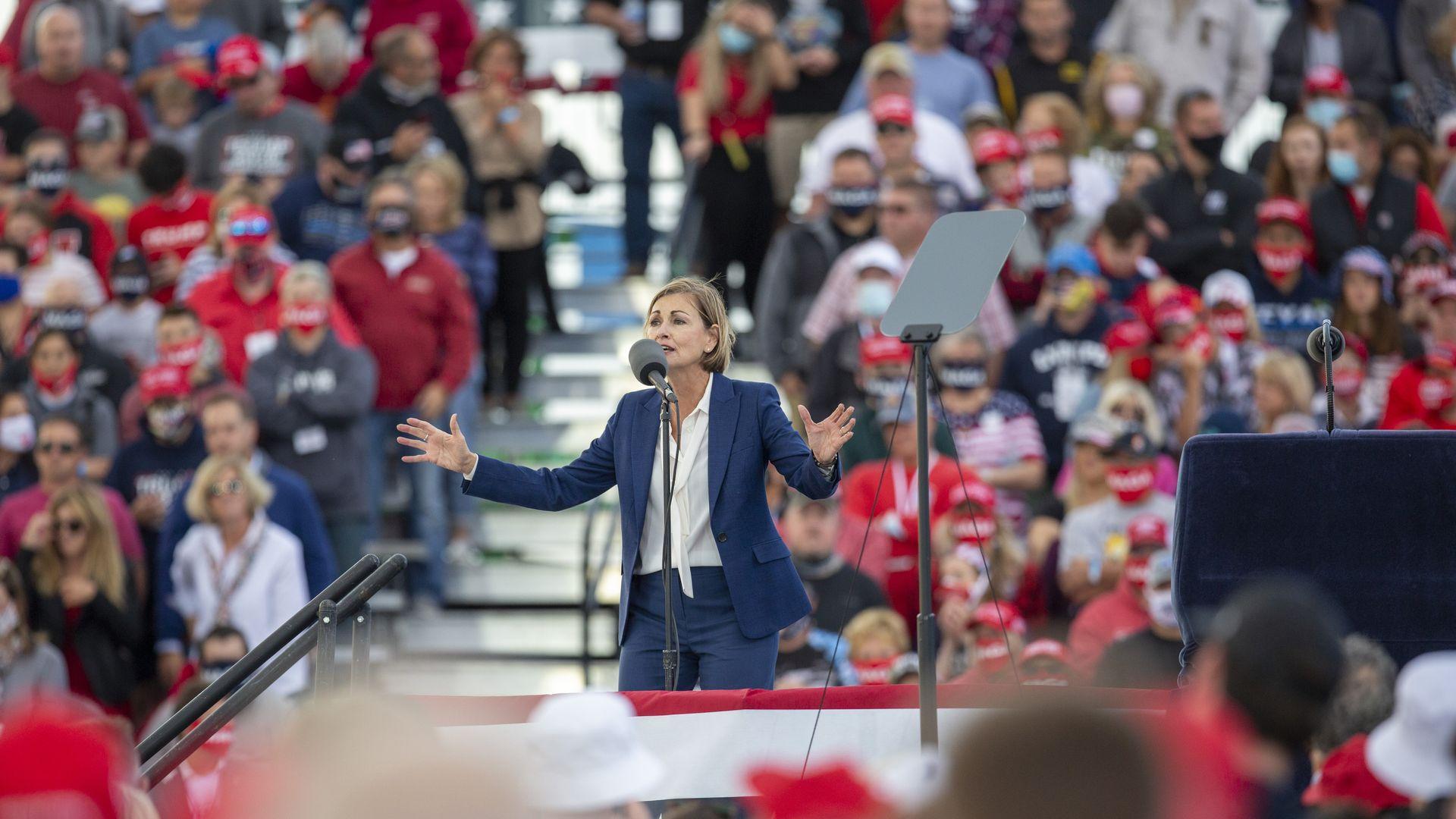 Governor Kim Reynolds at a Trump Rally