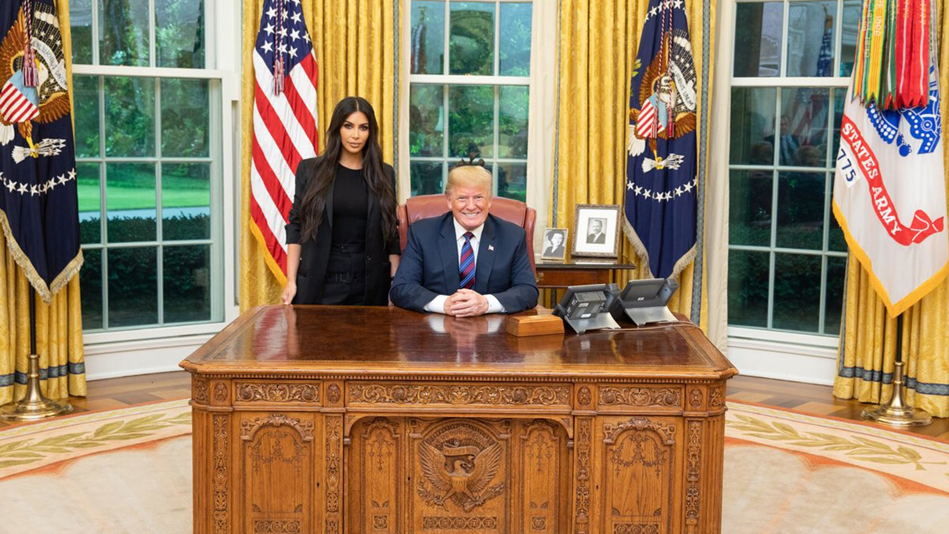 Kim Kardashian and President Trump in the Oval Office