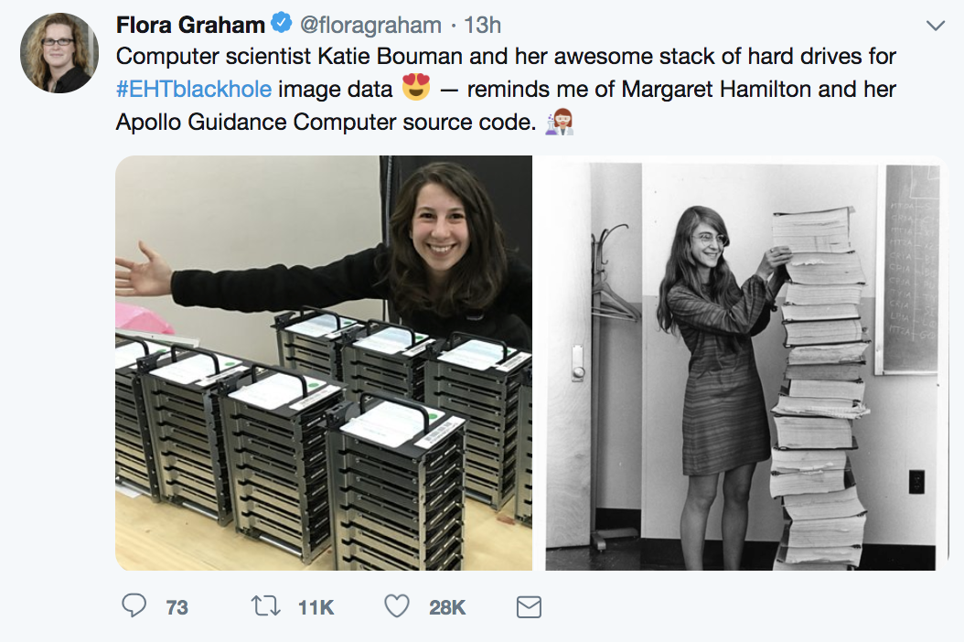 A tweet highlighting the work of Katie Bouman, shown next to a stack of hard drives.