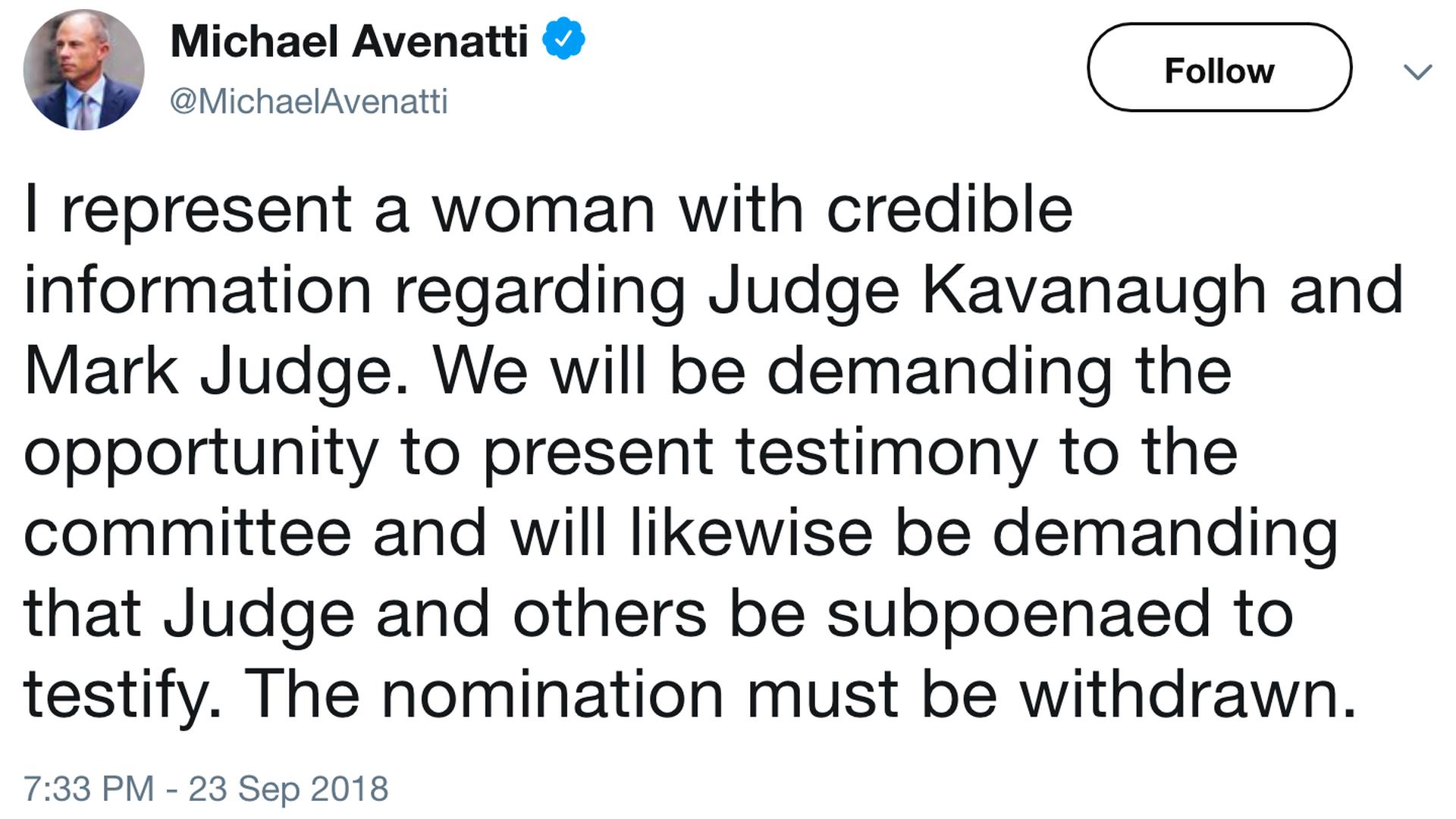 axios.com - Michael Avenatti says he represents woman with 'credible' Kavanaugh information