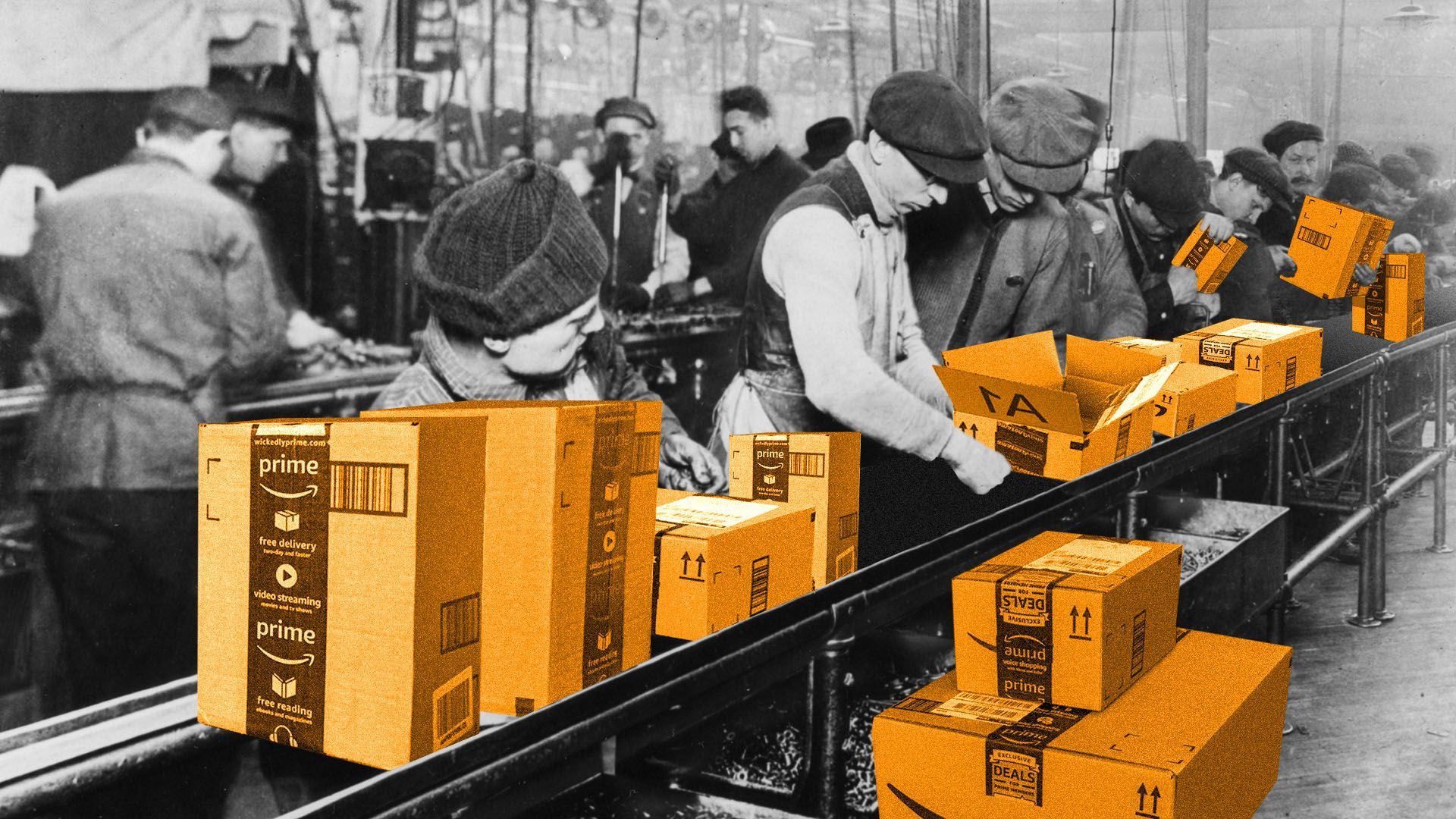 Illustration of turn-of-the-century factory workers processing Amazon packages