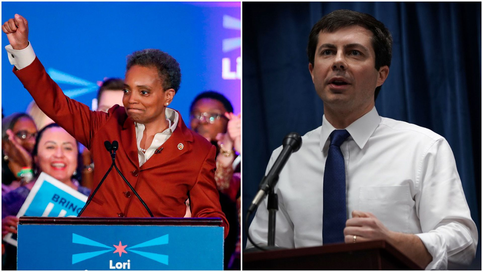 This is a splitscreen image. On the left, Lori Lightfoot raises a fist in victory behind a podium. On the right, pete buttigieg speaks into a micrphone.