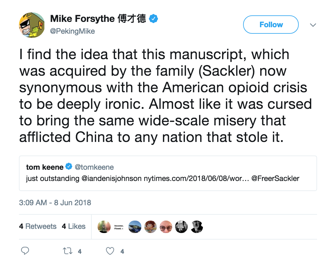 Tweet from NYT reporter on manuscript
