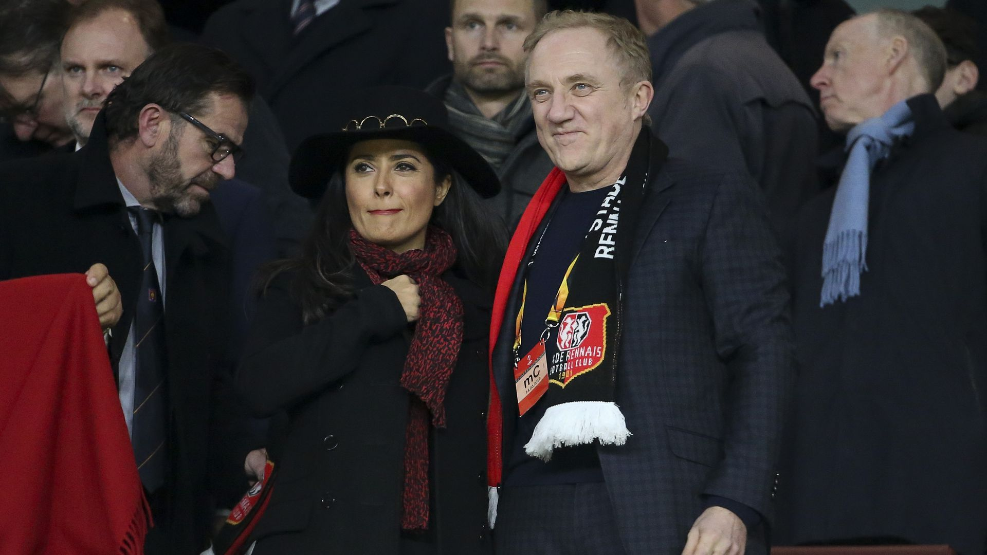 Stade Rennais owner and CEO of Kering Group François-Henri Pinault and his wife, actress Salma Hayek at a soccer match.