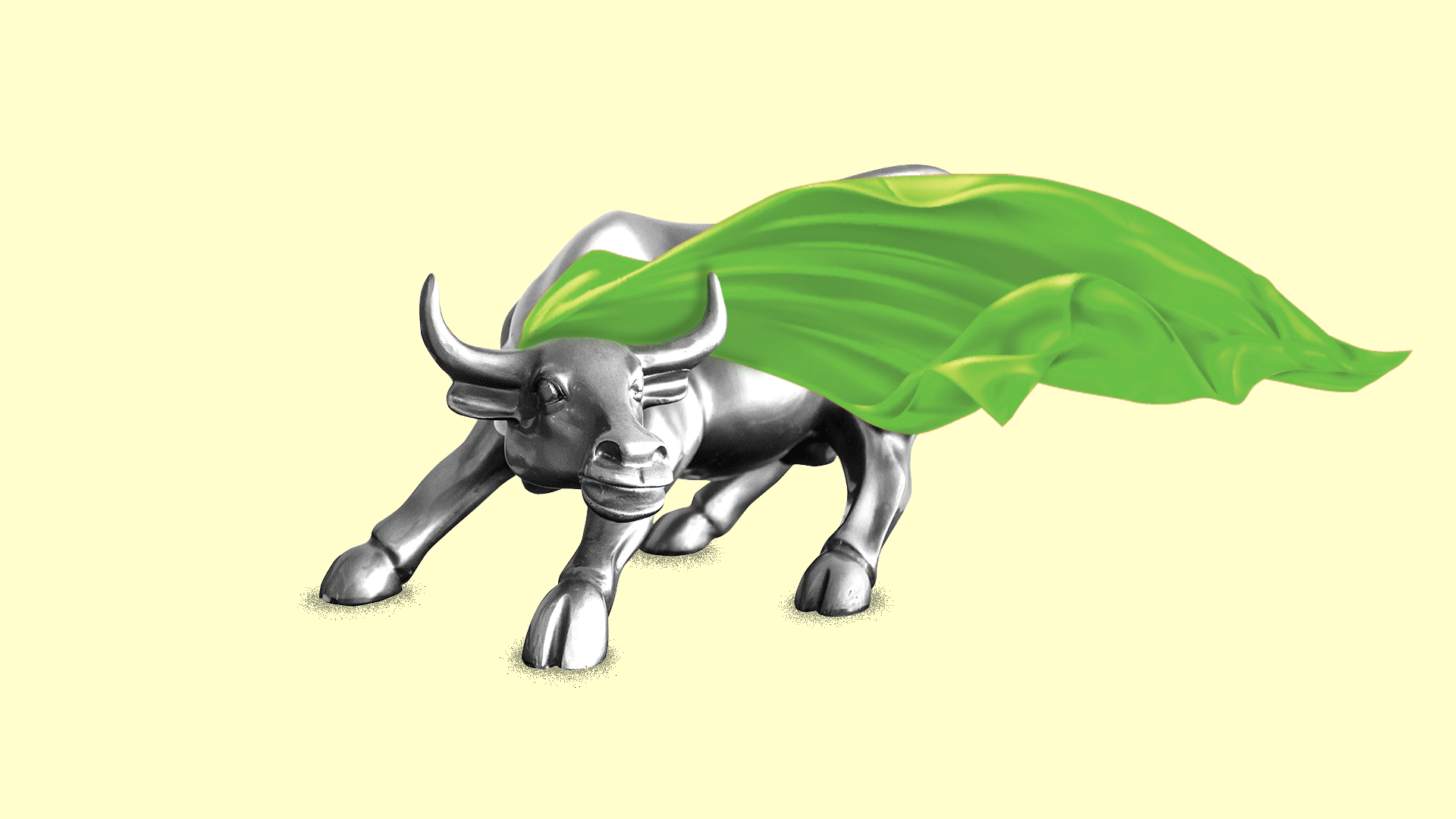 In this illustration, the Wall Street bull has a green cape.