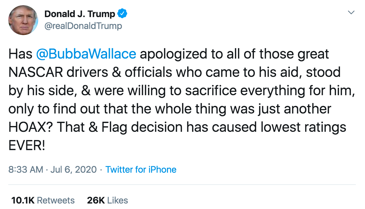 Trump demands apology from Bubba Wallace
