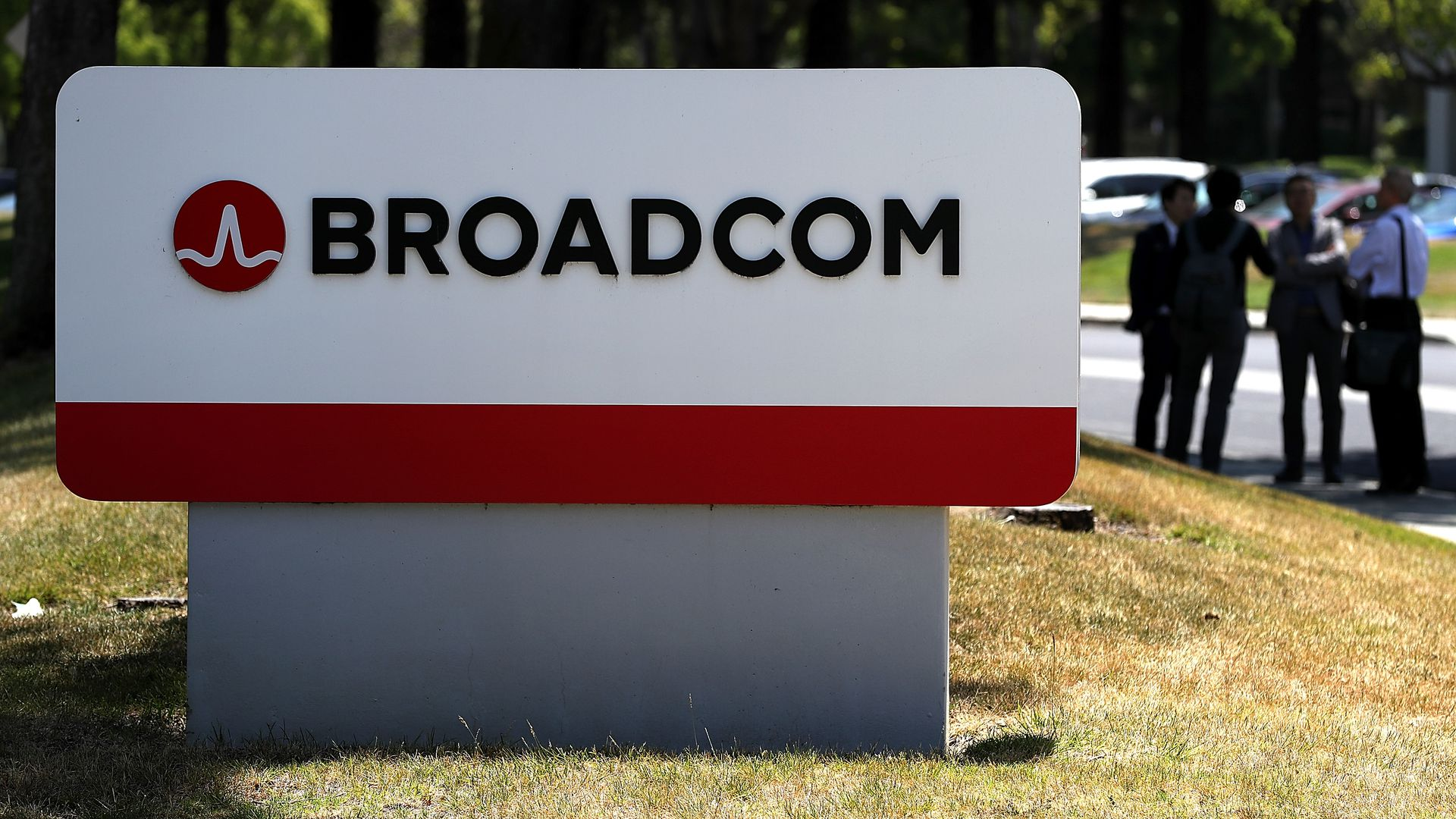 A Broadcom sign outside company offices.