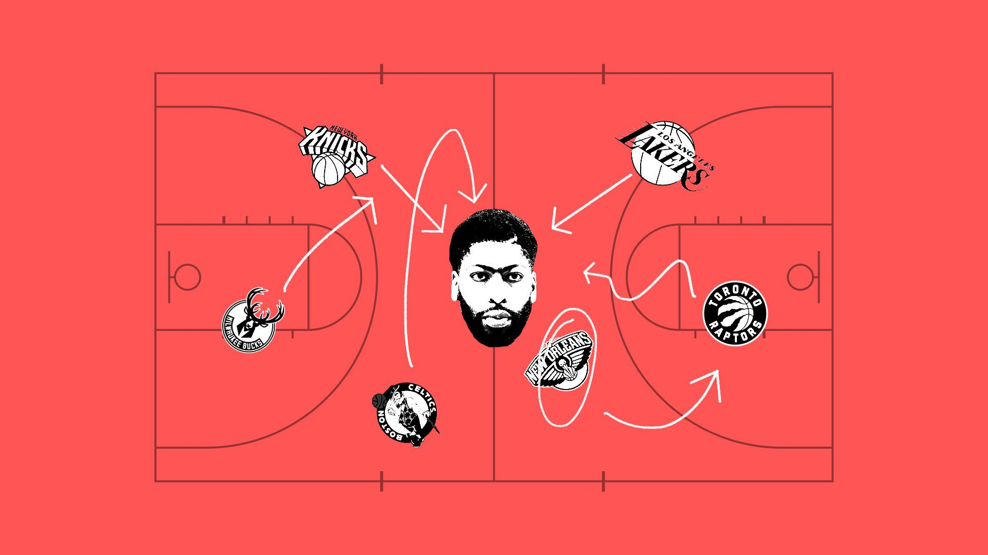 Illustration of Anthony Davis surrounded by the logos of the teams who are fighting for him