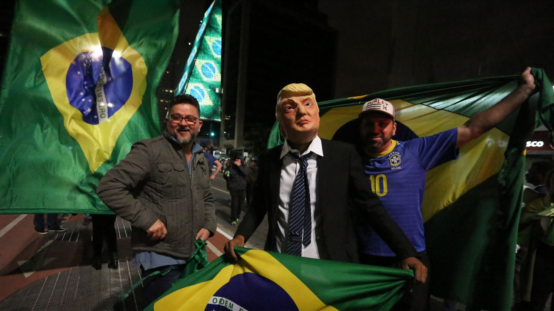 Supporters of Brazil's elected presidential candidate Jair Bolsonaro are celebrating the confirmation of the victory of the second round of elections in the Paulista avenue