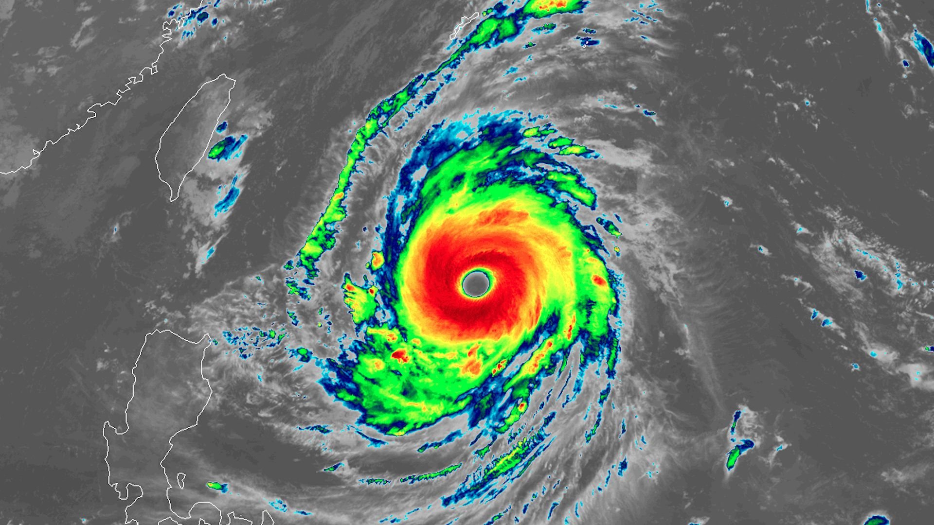 Super Typhoon Jami seen via satellite on September 24, 2018.