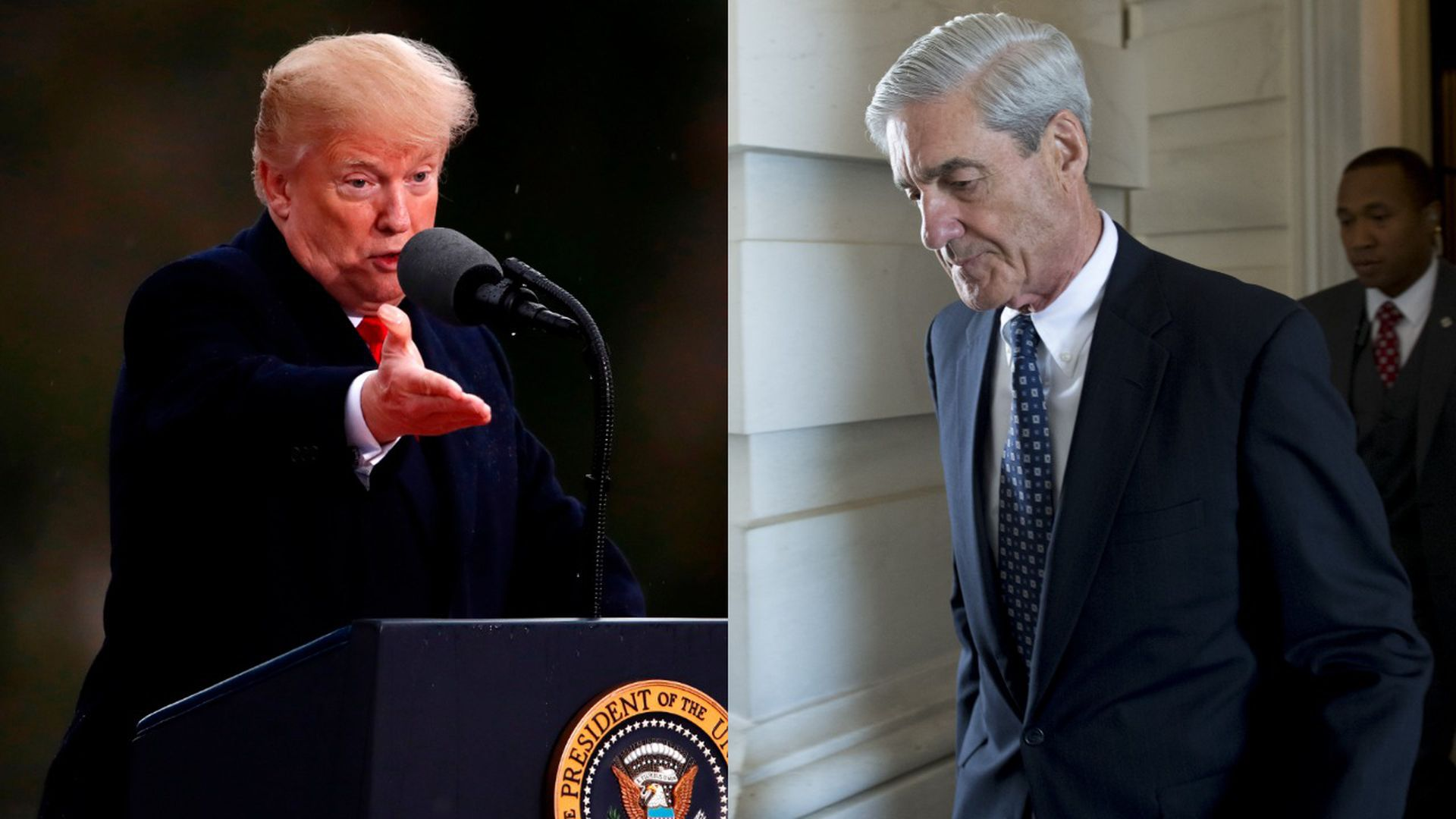 Split image of President Trump and Bob Mueller