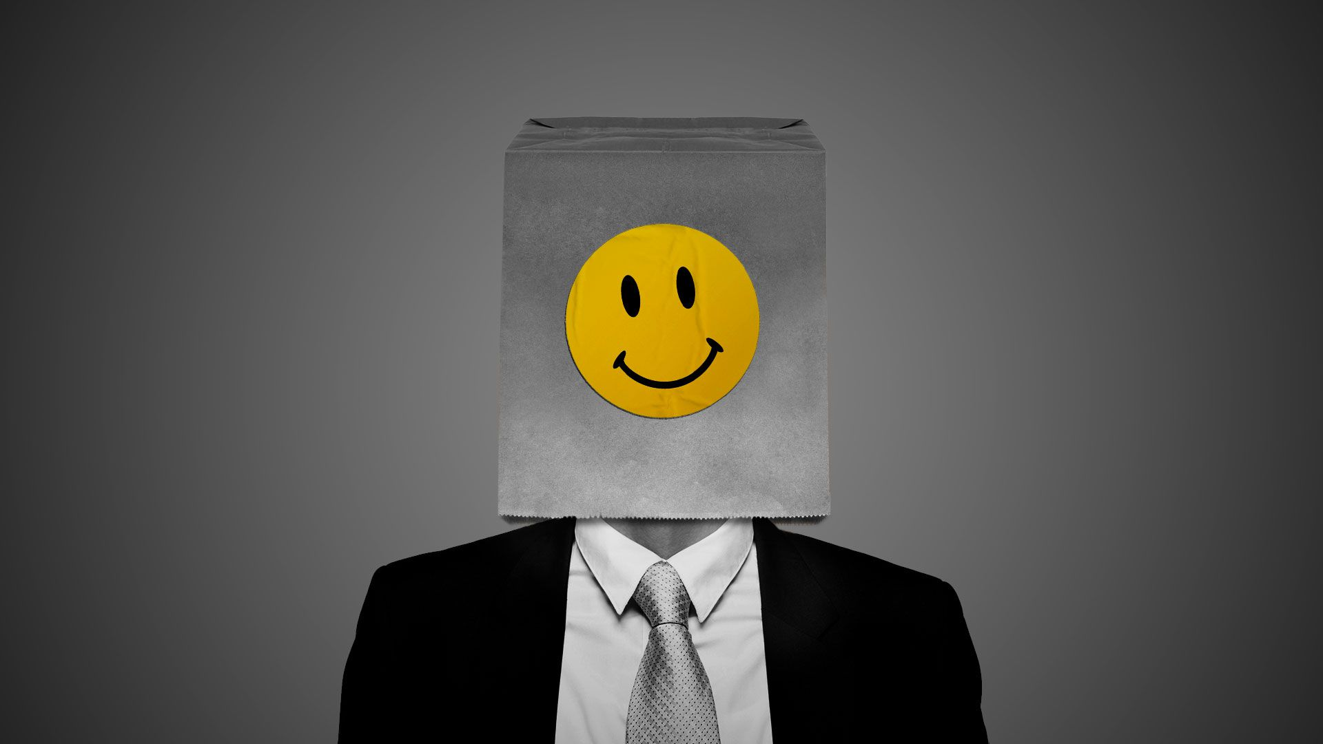 Illustration of a paper bag with a smiley face sticker over the head of a man in a suit
