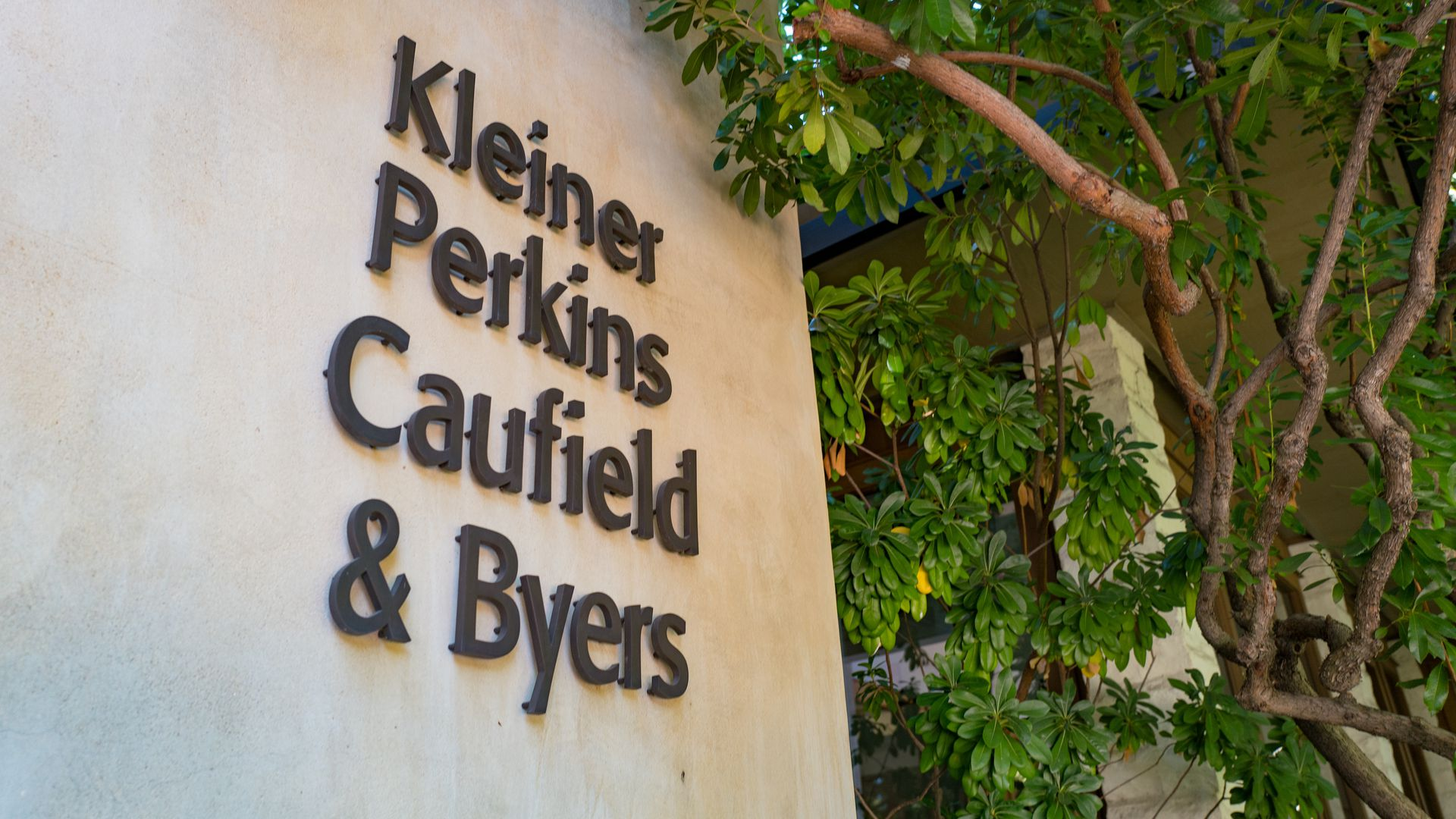 Signage at headquarters of venture capital investment firm Kleiner Perkins Caufield Byers